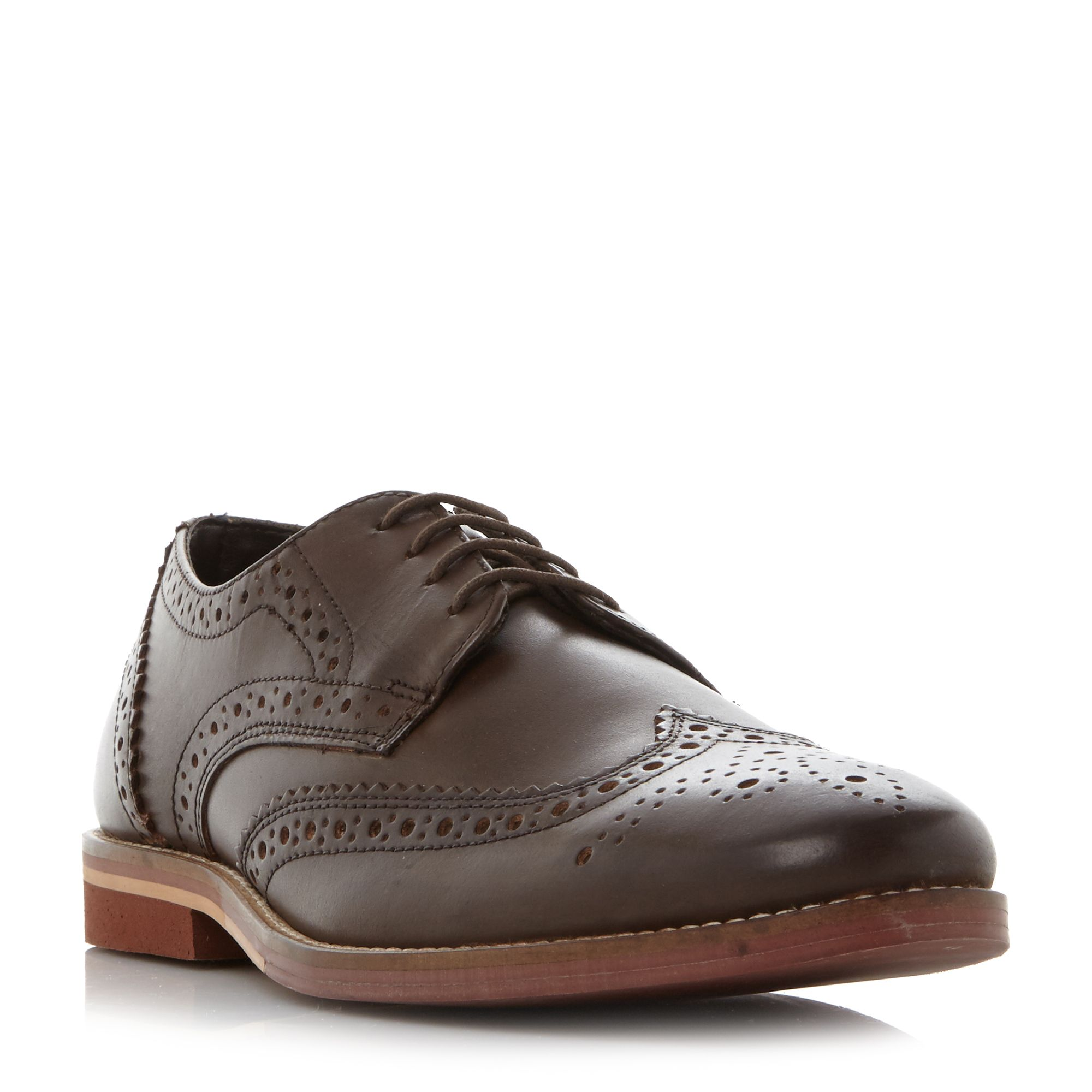 Click to view product details and reviews for Linea Buddie Brick Sole Brogue Shoes Dark Brown.