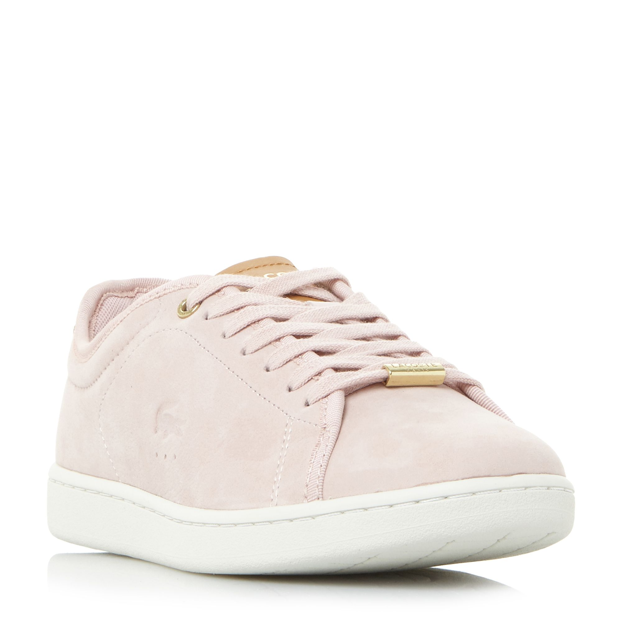 Lacoste Carnaby Evo Gold Detail Trainers, Pink