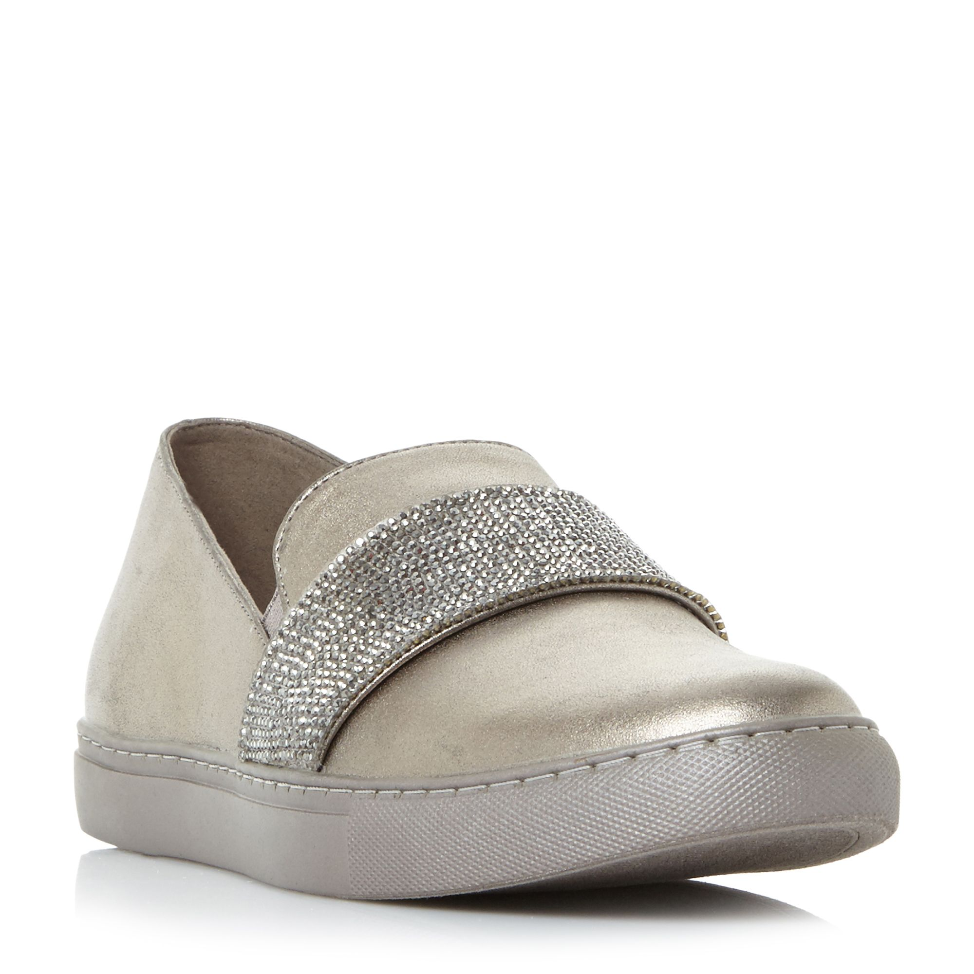 Kenneth Cole Kam Jewel Jewelled Cupsole Slip On Shoes, Pewter