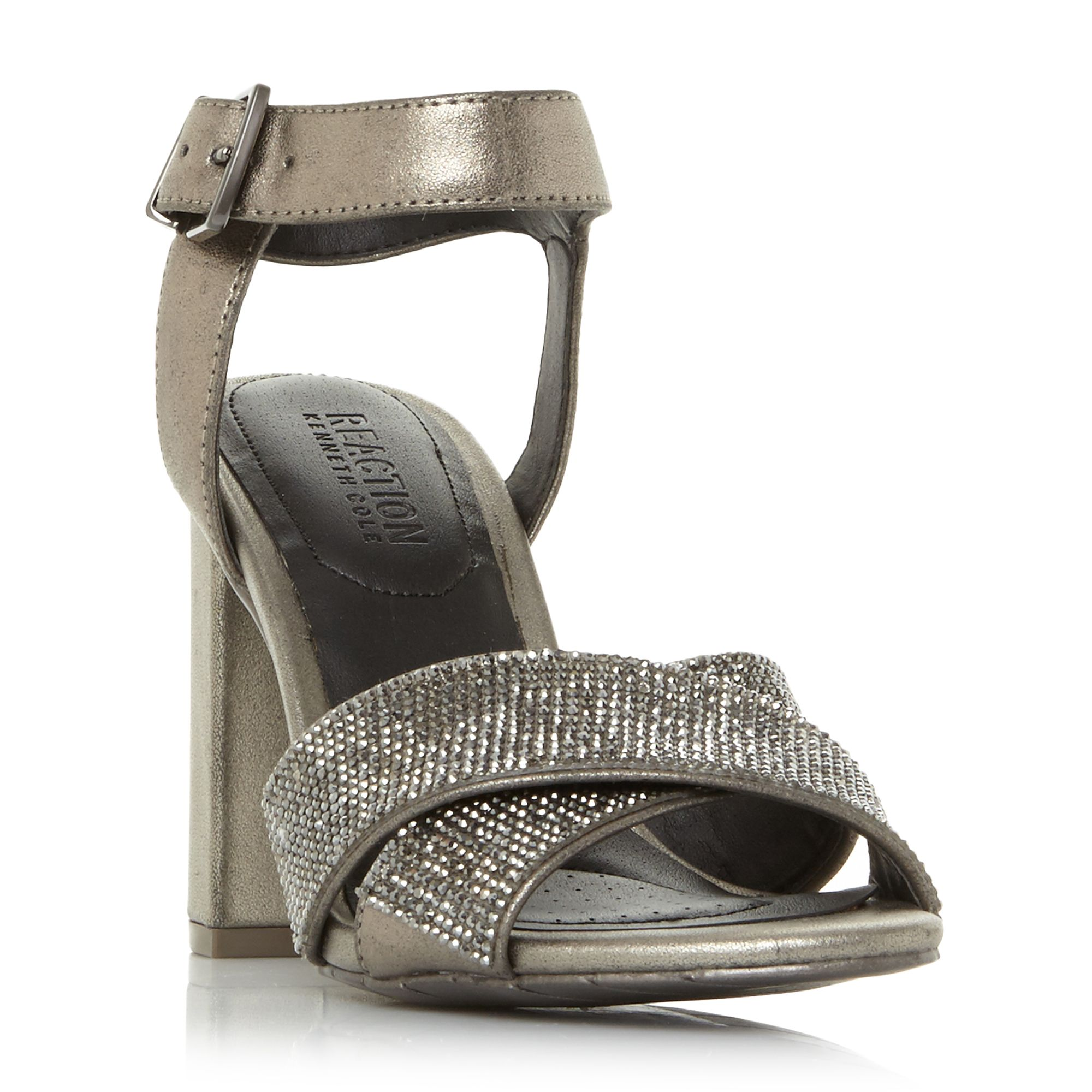 Kenneth Cole Crash Jewel Cross Strap Beaded Sandals, Pewter