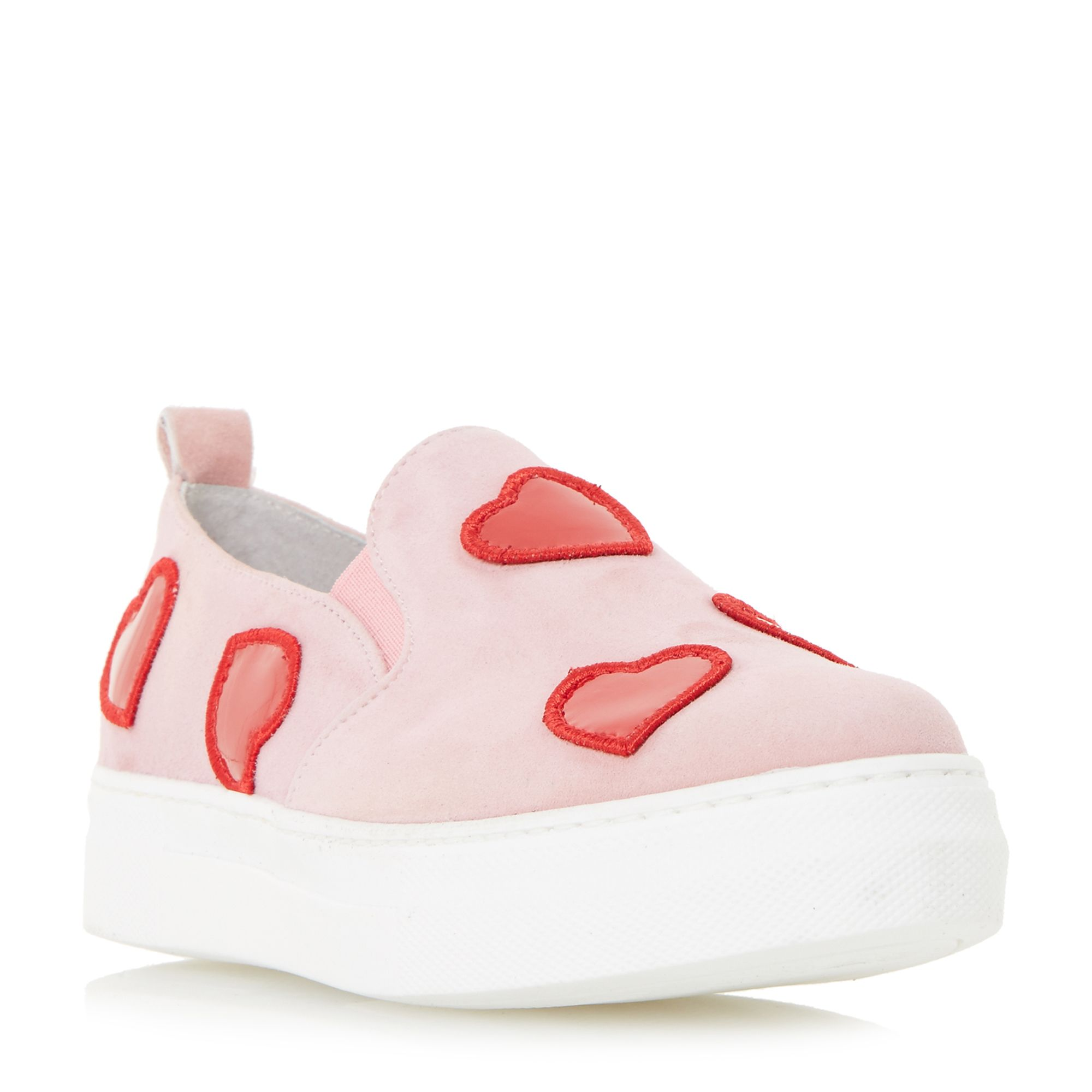 Dune Black Ever-After loveheart badge slip on shoes, Pink