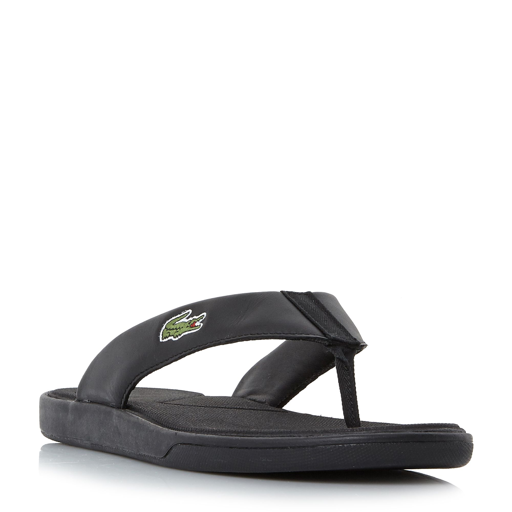 Men's Lacoste L.30 Leather Toe Post Flip Flops, Black