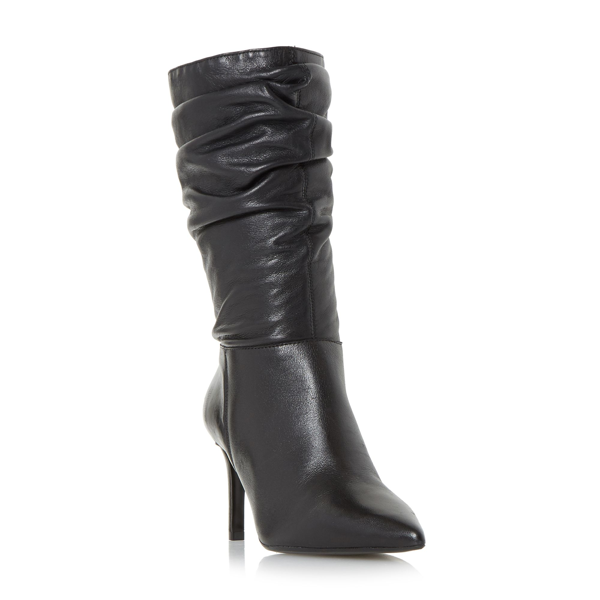 Click to view product details and reviews for Dune Reenie Point Ruched Boots Black.