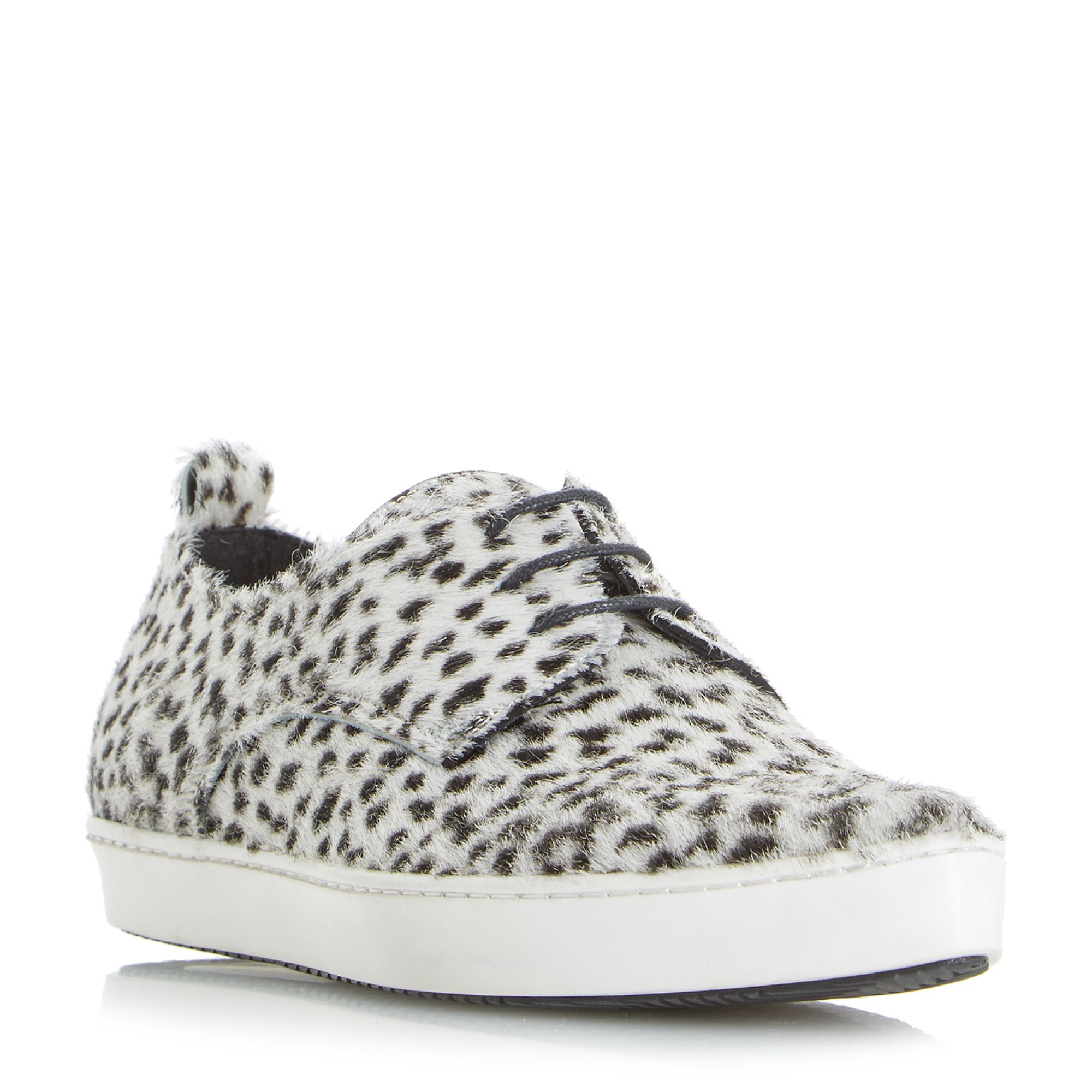 Dune Black Frenche Pointed Lace Up Trainers, Black/White