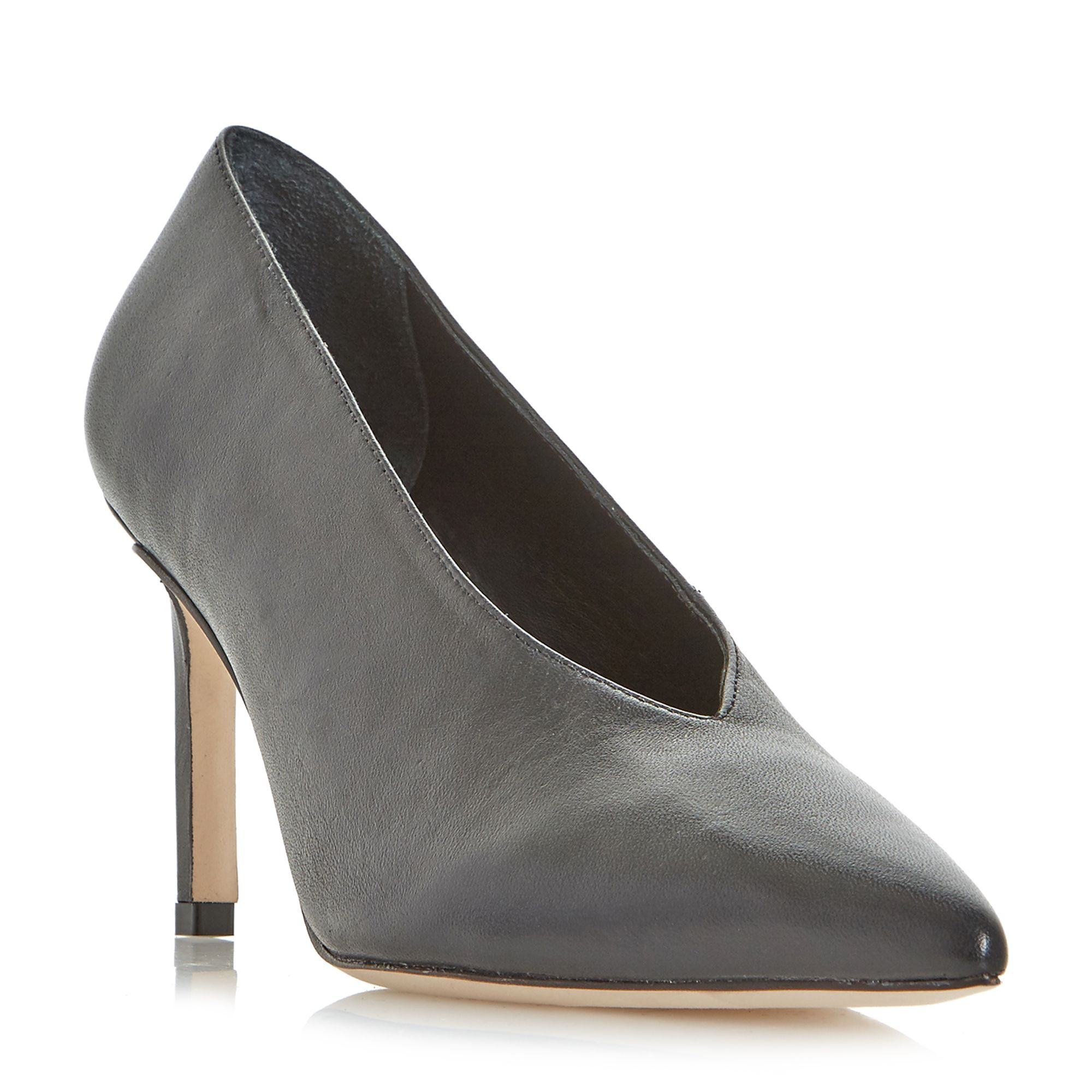 Dune Black Amigos High Vamp Pointed Toe Court Shoes, Black