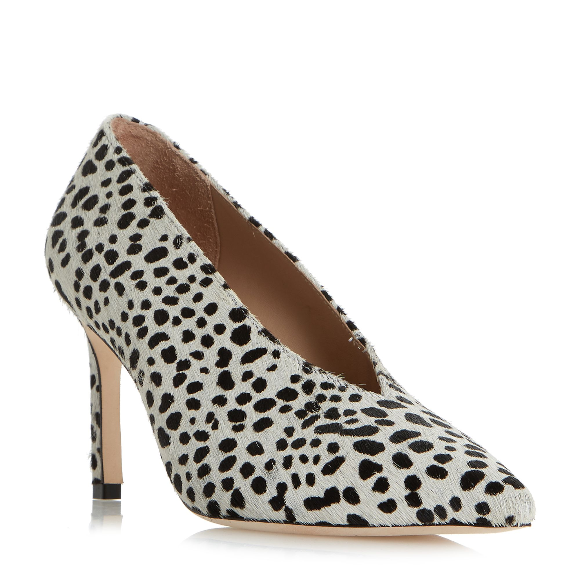 Dune Black Amigos High Vamp Pointed Toe Court Shoes, Black/White