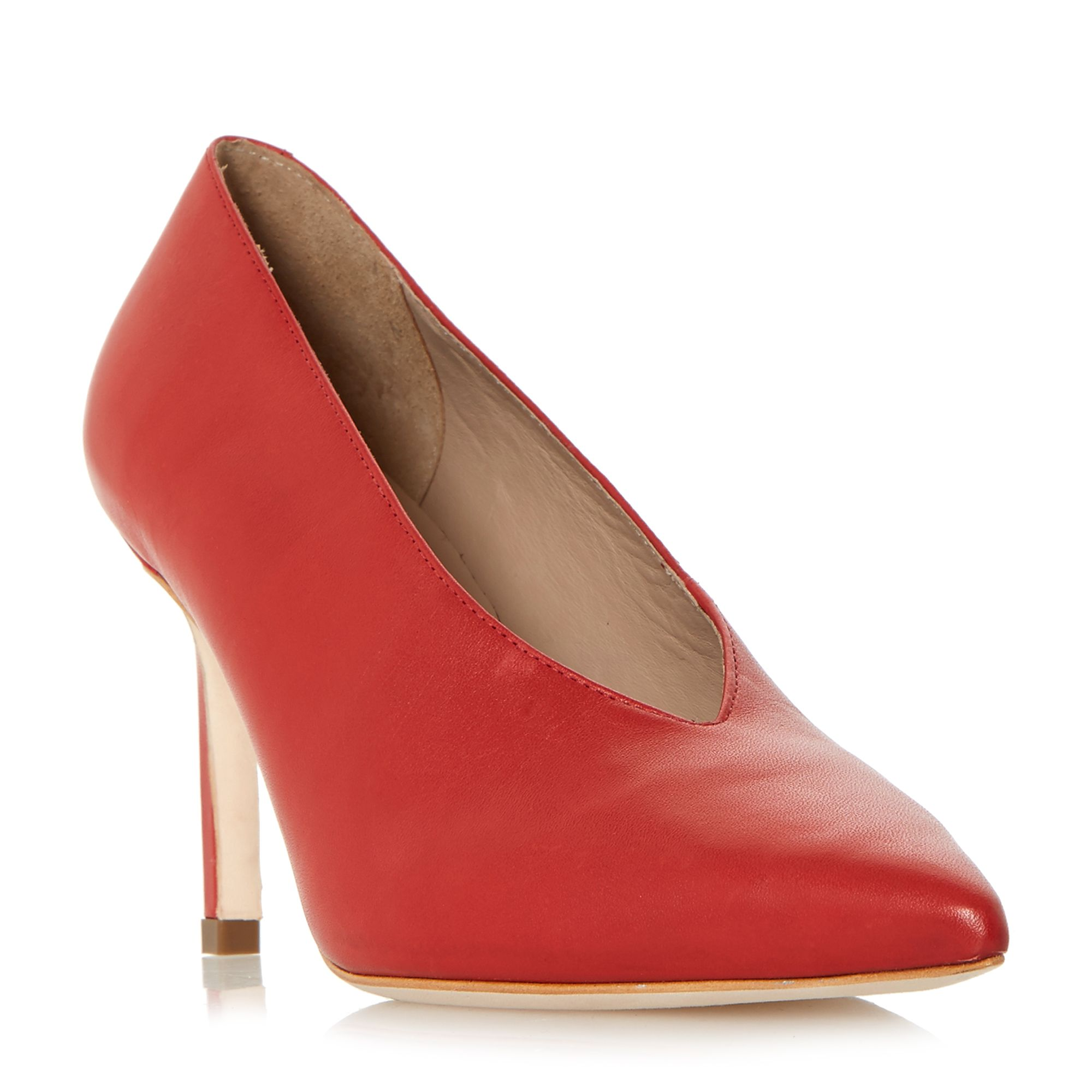 Dune Black Amigos High Vamp Pointed Toe Court Shoes, Red