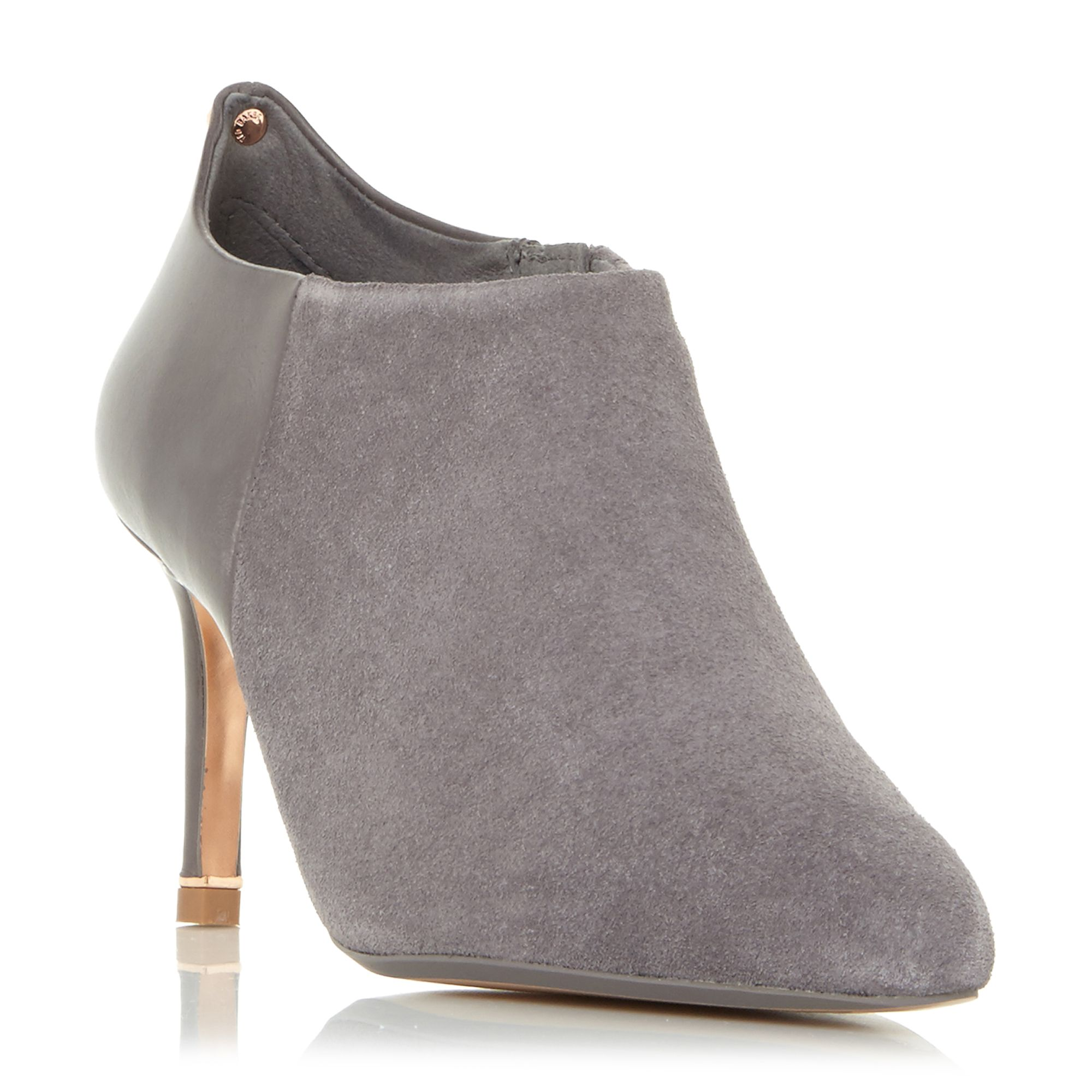 Click to view product details and reviews for Ted Baker Akashers Mid Heel Point Ankle Boots Taupe.