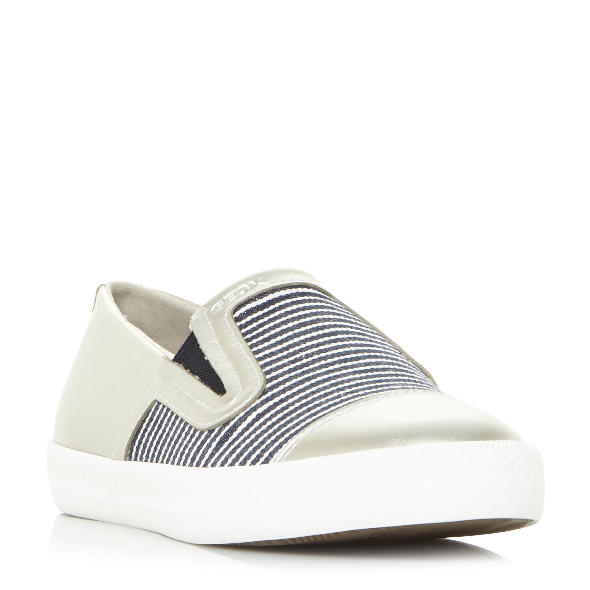 Geox D Giyo B Striped Canvas Slip On Shoes, Silver