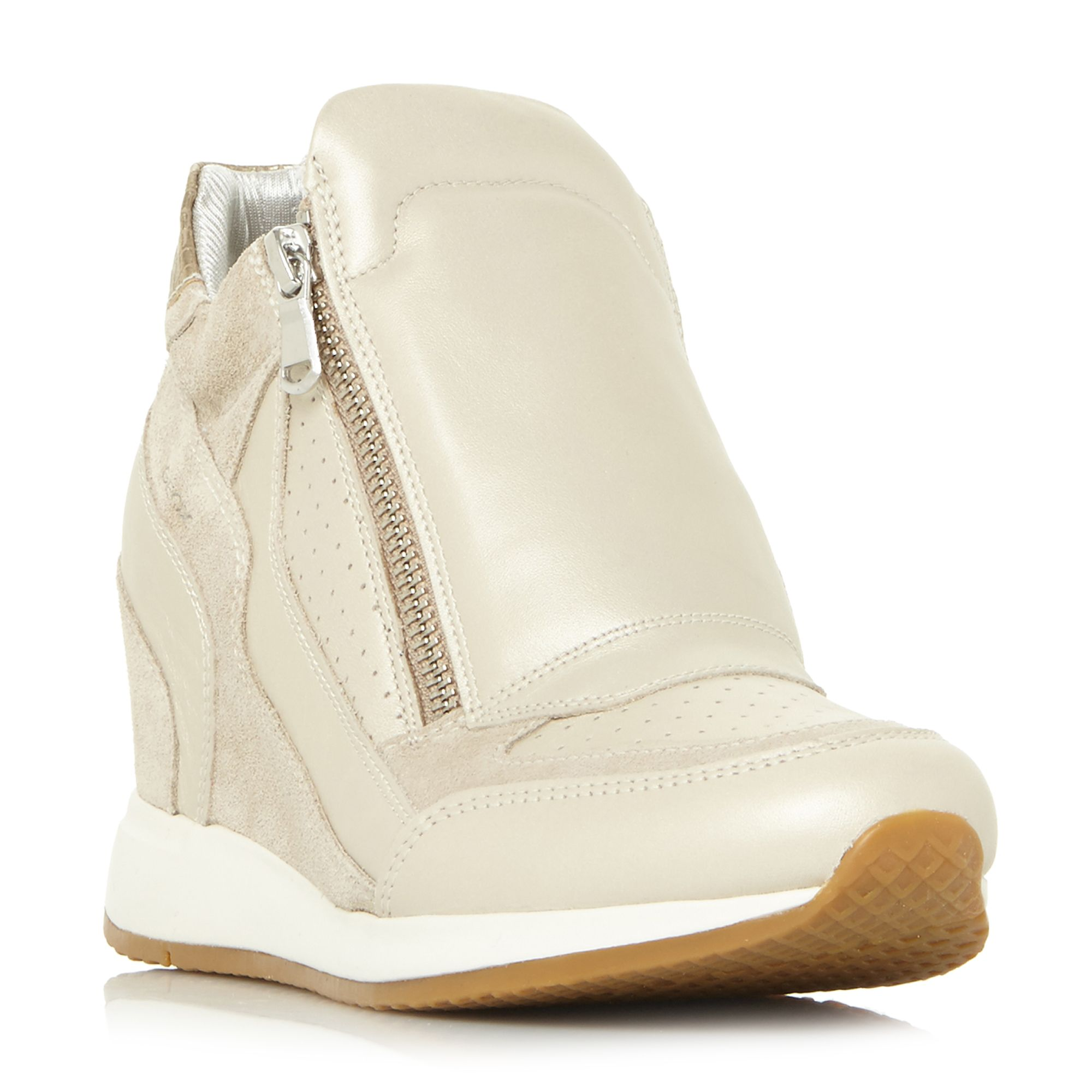 Geox Nydame Zip Side Wedge Trainers, Taupe