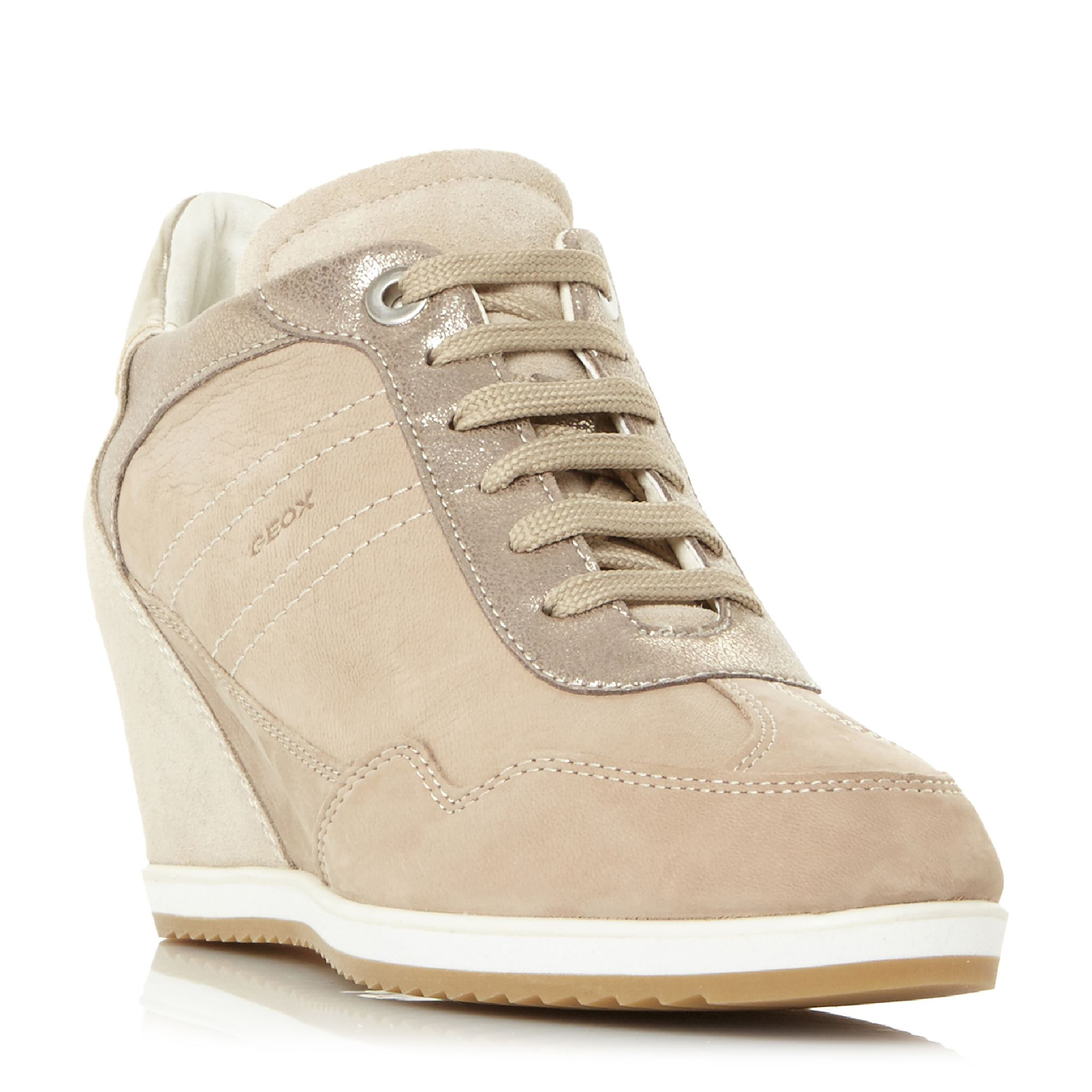 Geox D Illusion B Lace Up Wedge Trainers, Sand