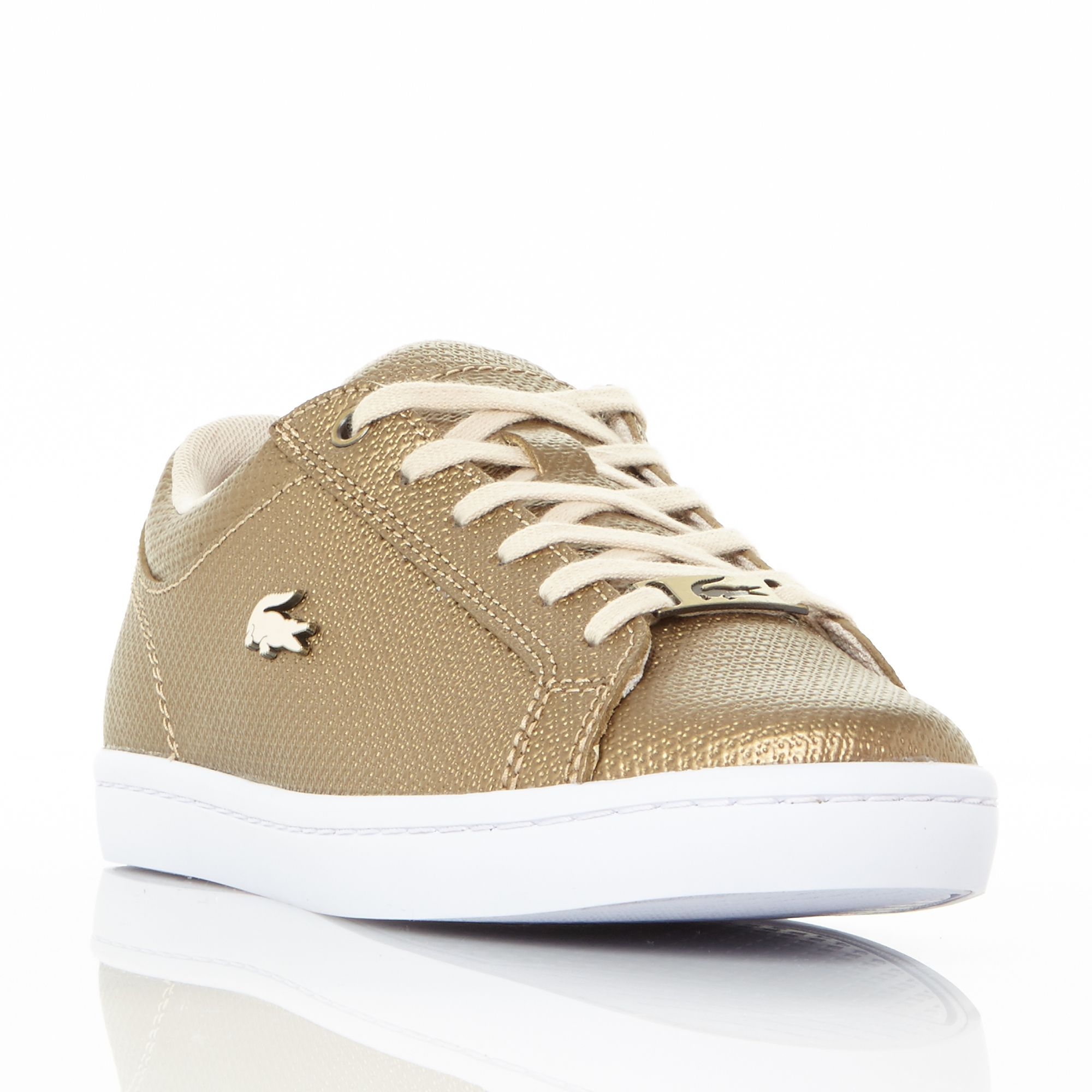 Lacoste Straightset Lace Up Trainers, Gold