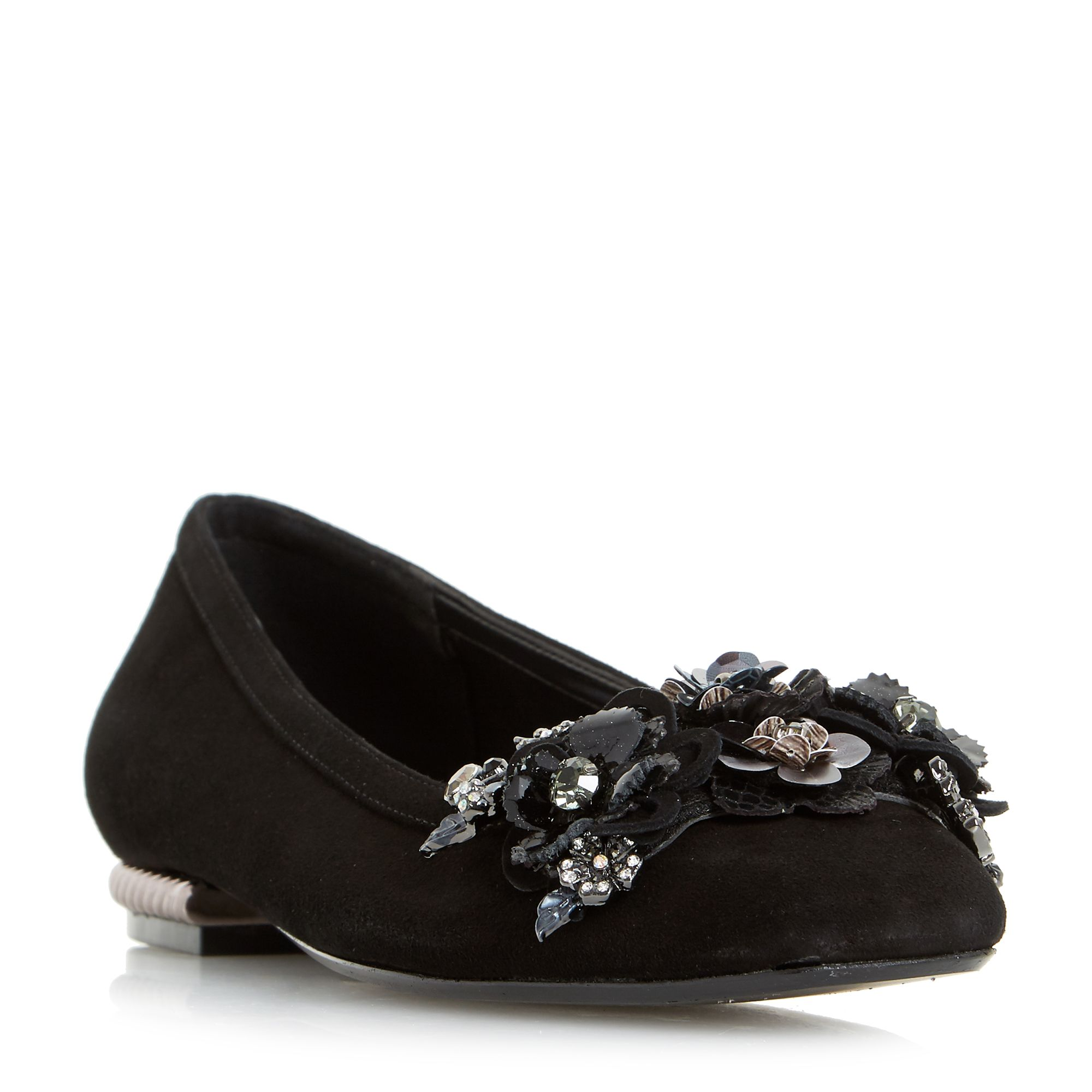 Dune Havannah Flower Garden Pump Shoes, Black Suede