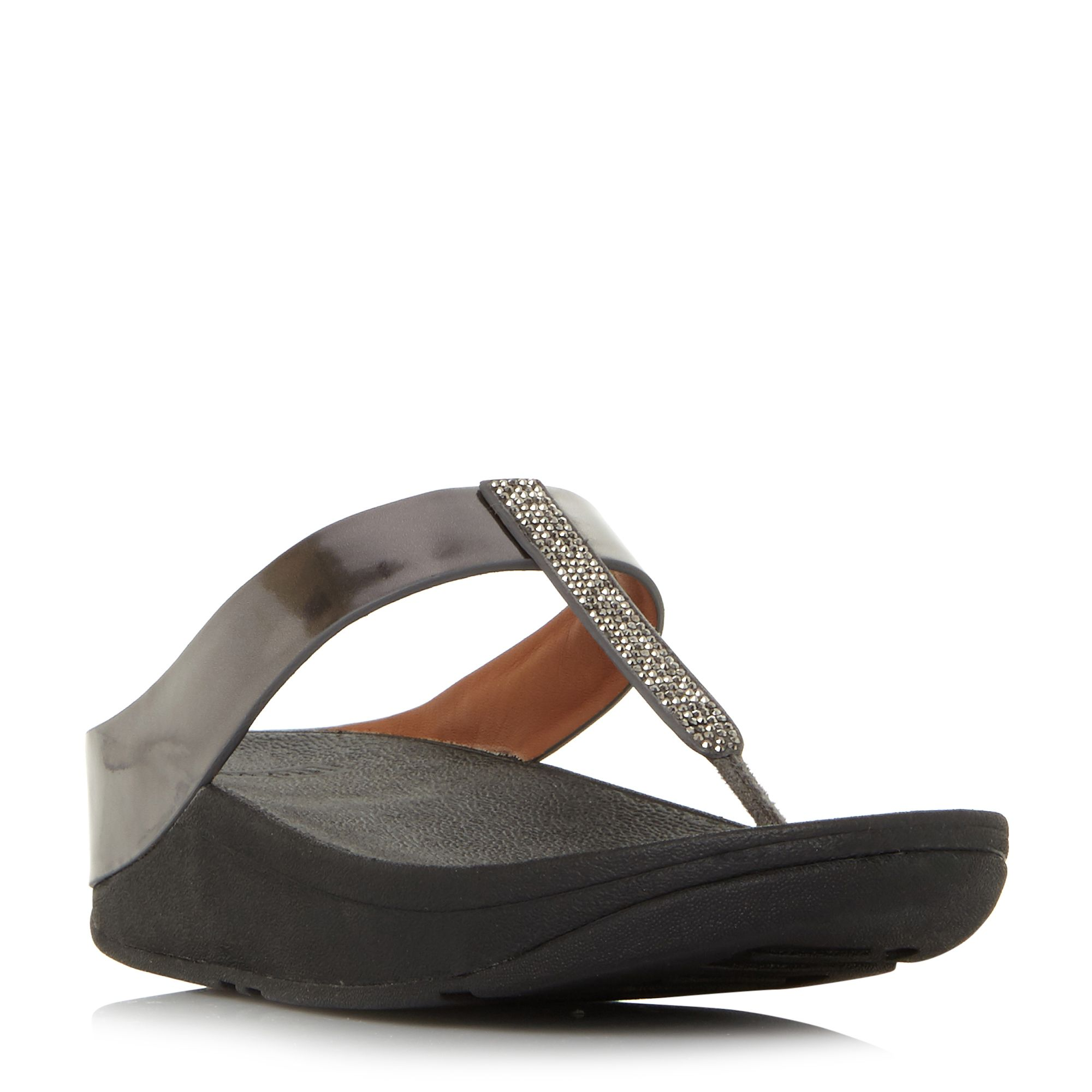 FitFlop Fino Crystal Toe Post Sandals, Pewter