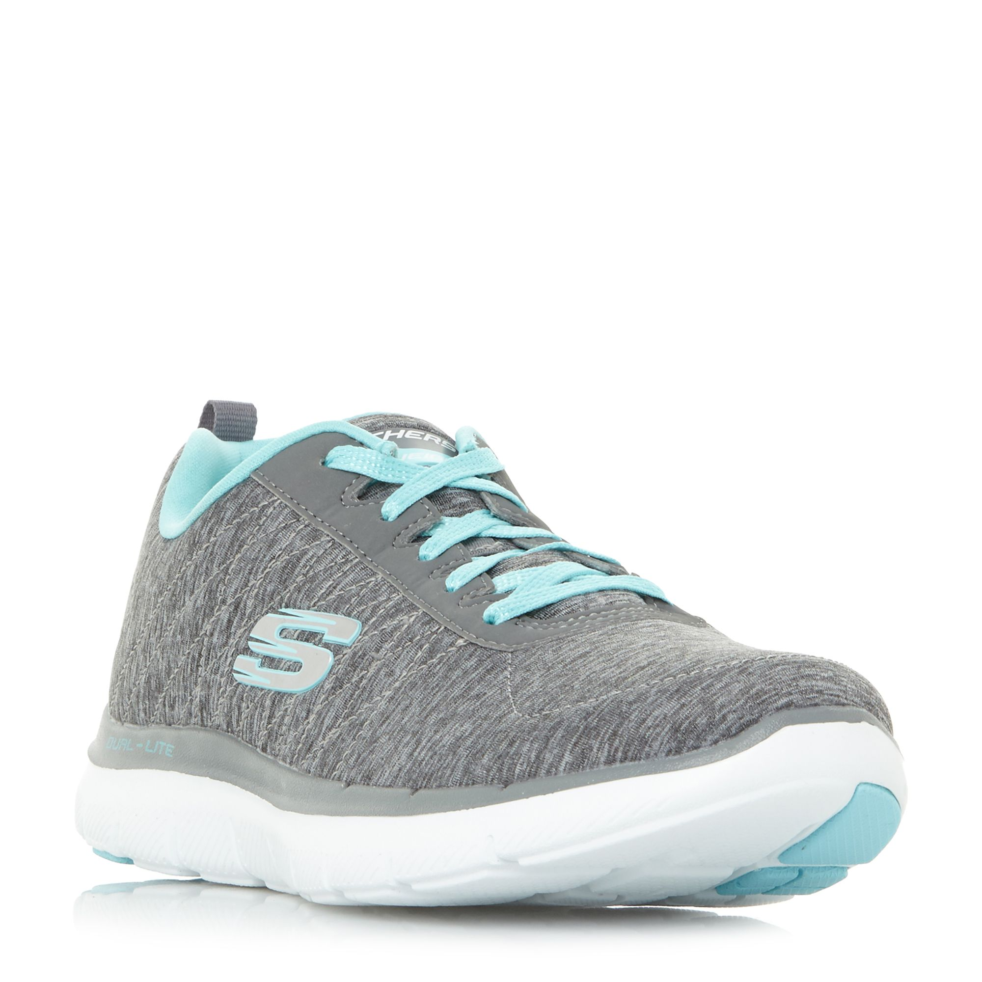 Skechers Flex Lace Up Trainers, Grey