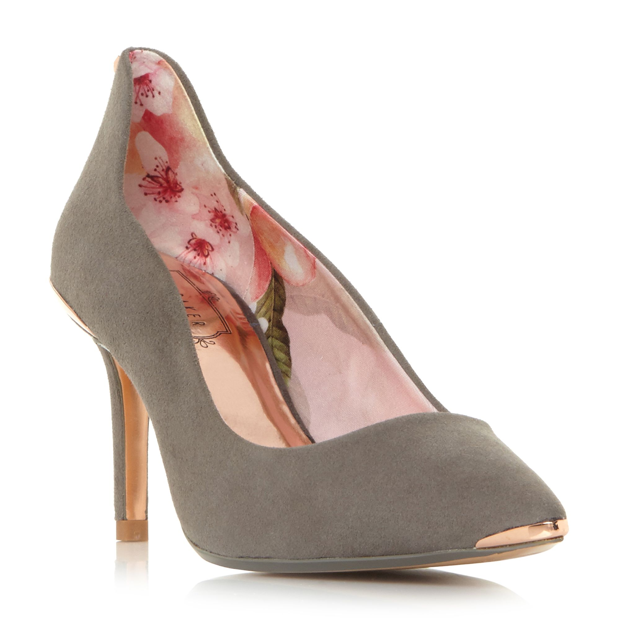 Click to view product details and reviews for Ted Baker Viyxyns Mid Heels Court Shoes Grey.