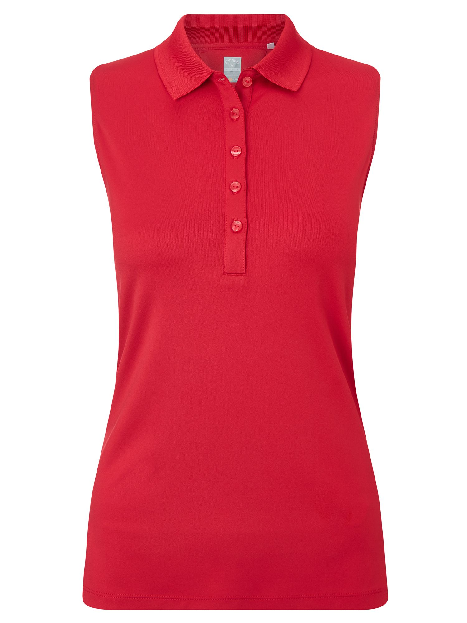 Callaway Chev Solid Sleeveless Polo, Red