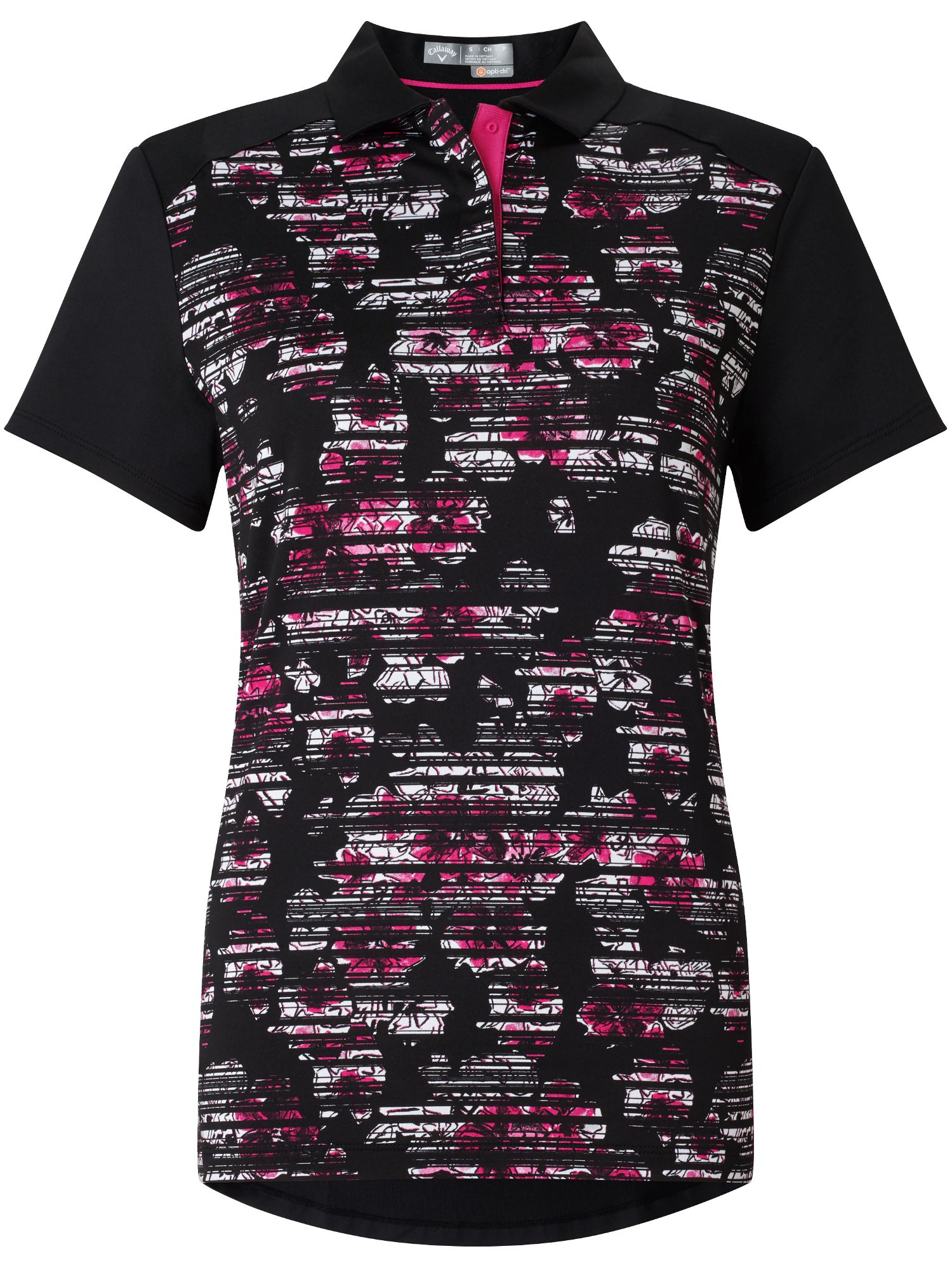 Callaway Stained Floral Polo, Black