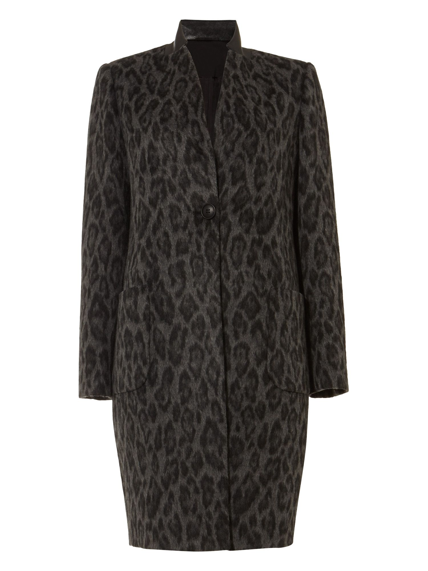 Damsel in a Dress Rowan Leopard Print Coat, Black