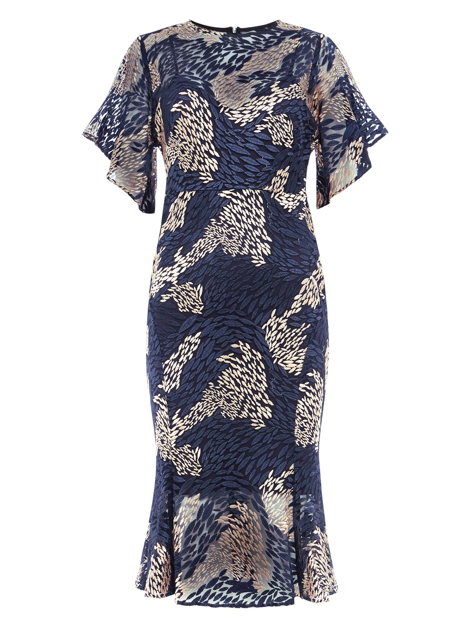 Damsel in a Dress Jamil Lace Fluted Sleeve Dress, Blue & Pink