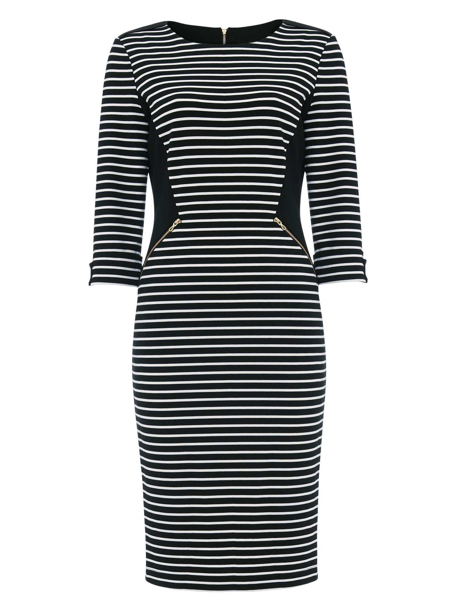 Damsel in a Dress Addison Stripe Fitted Dress, Black/White