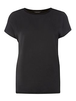 Satin Woven Front T-Shirt
