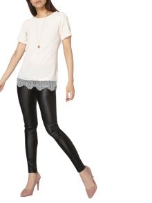 Dorothy Perkins Lace Hem Woven Front T-Shirt