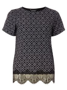 Dorothy Perkins Diamond Woven Lace T-Shirt
