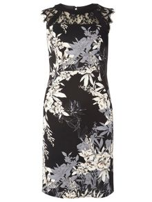 Dorothy Perkins Petite Floral Scuba and Lace Dress