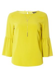 Dorothy Perkins Flute Sleeve Top With Necklace