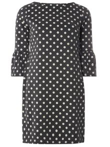 Dorothy Perkins Spot Fluted Sleeve Shift Dress