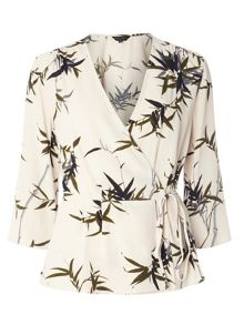 Dorothy Perkins Leaf Print Wrap Top