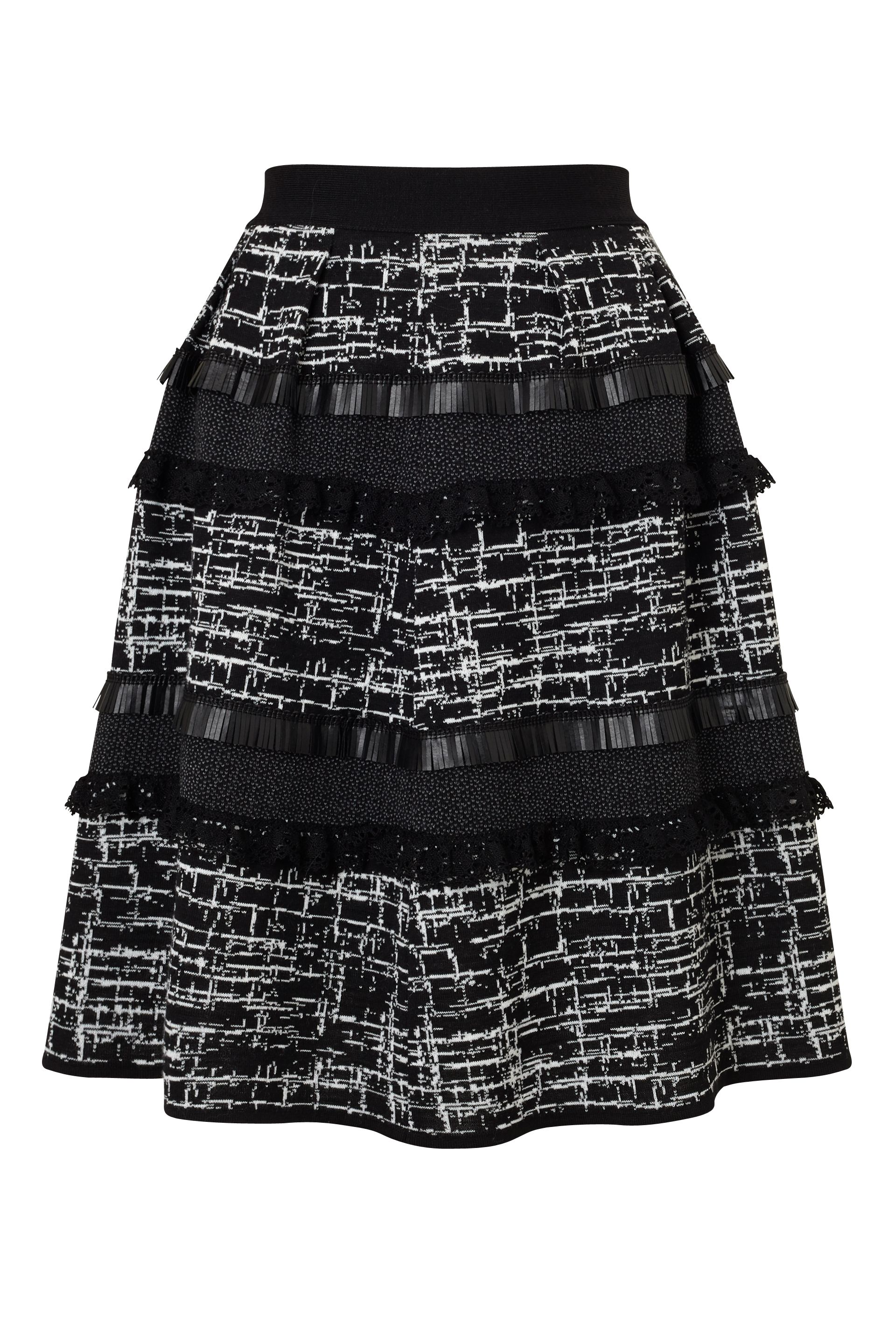 James Lakeland Jacquard Mix Fabric Skirt, Black