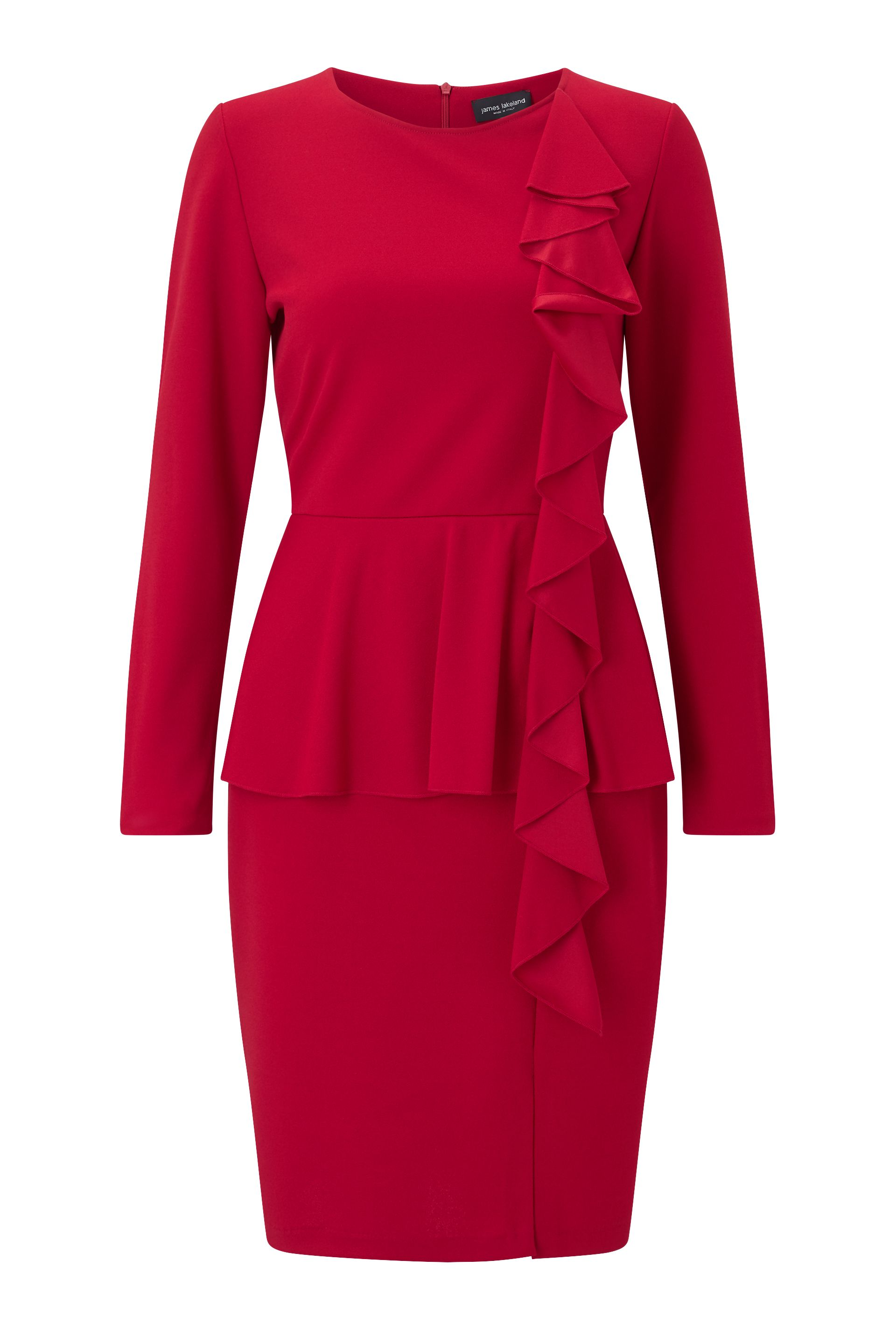 James Lakeland Ruffle Peplum Dress, Red