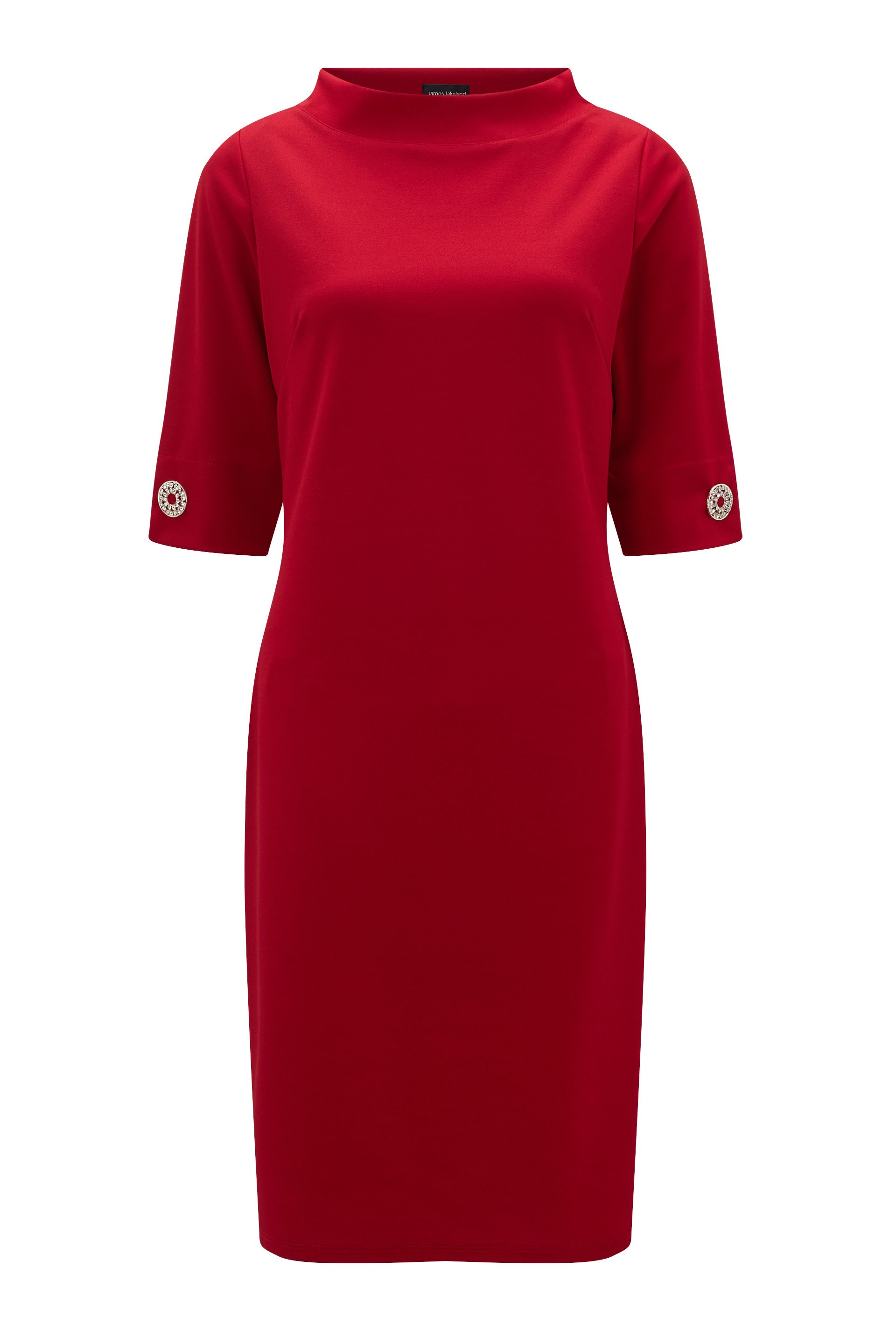 James Lakeland 3/4 Sleeve Strass Dress, Red