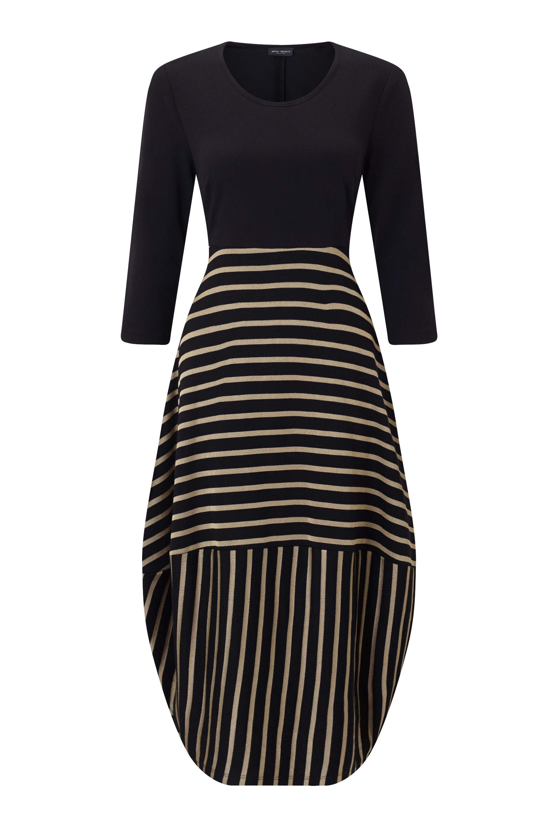 James Lakeland Balloon Stripe Dress, Black