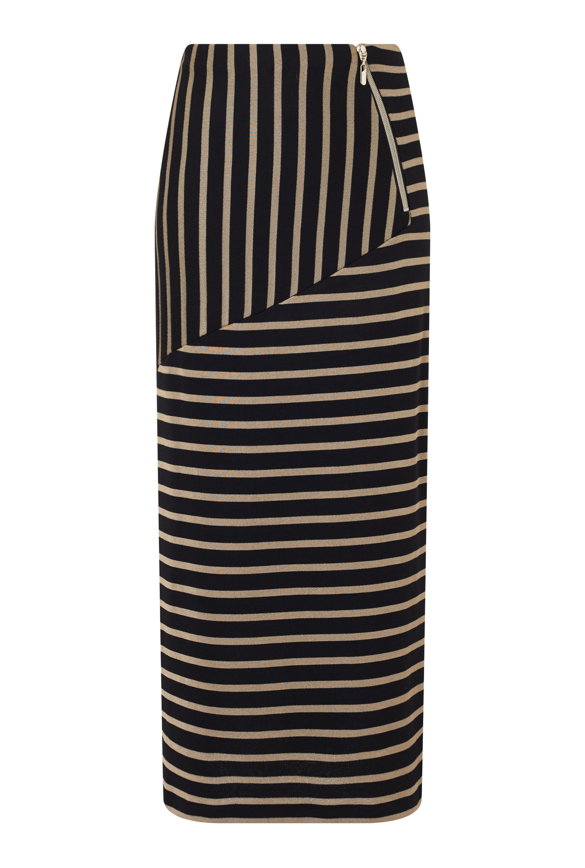 James Lakeland Stripe Long Length Skirt, Black