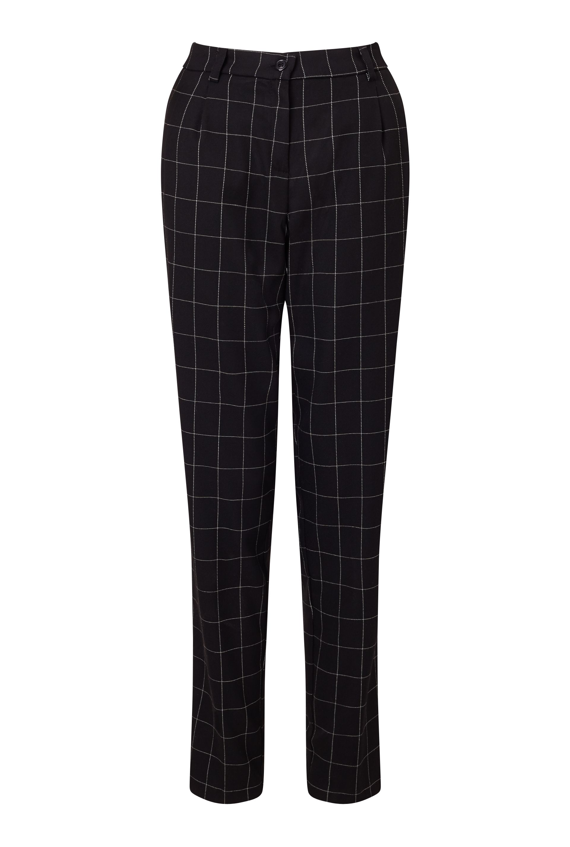 James Lakeland Slim Leg Check Trousers, Black