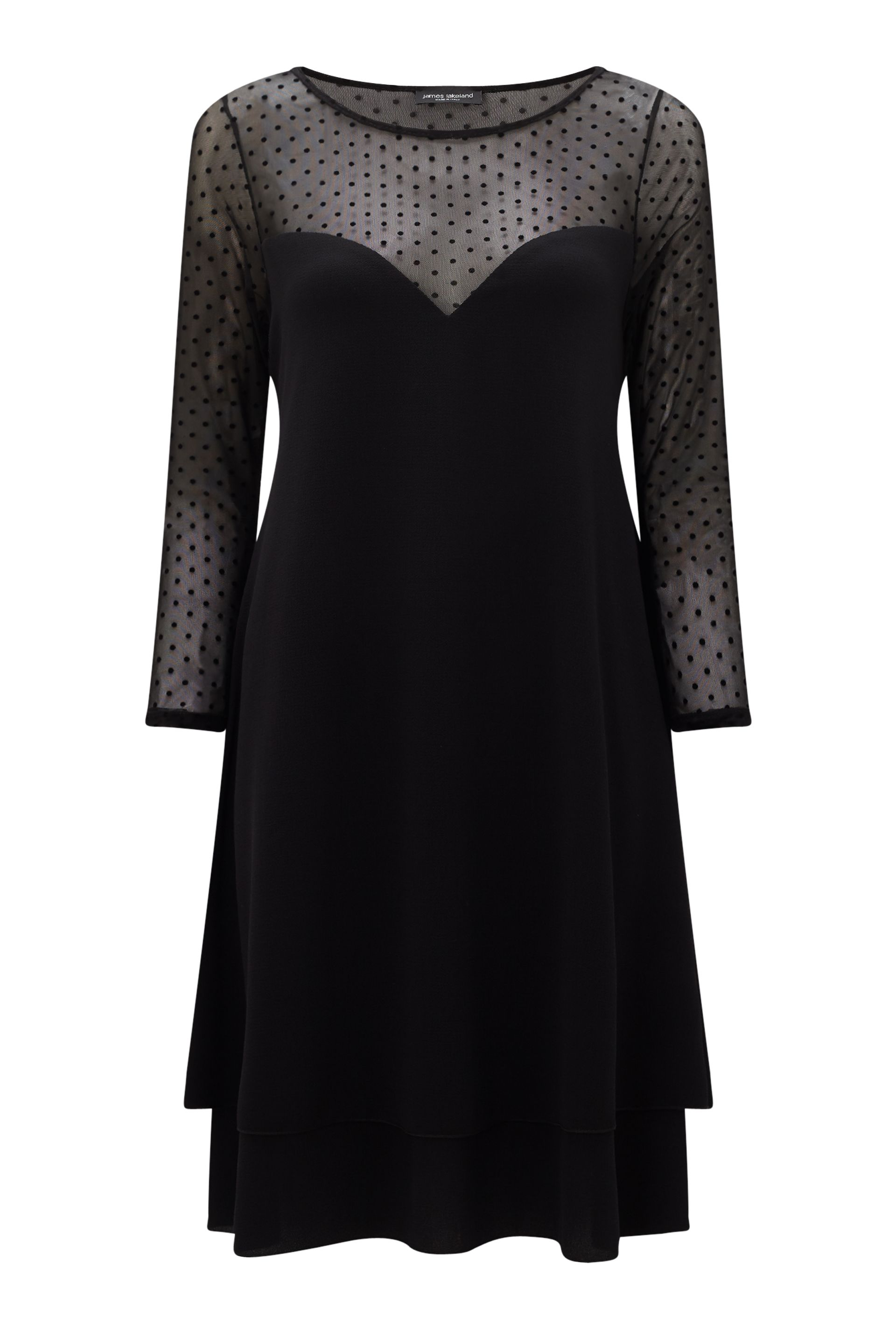 James Lakeland Sheer Sleeve Dress, Black