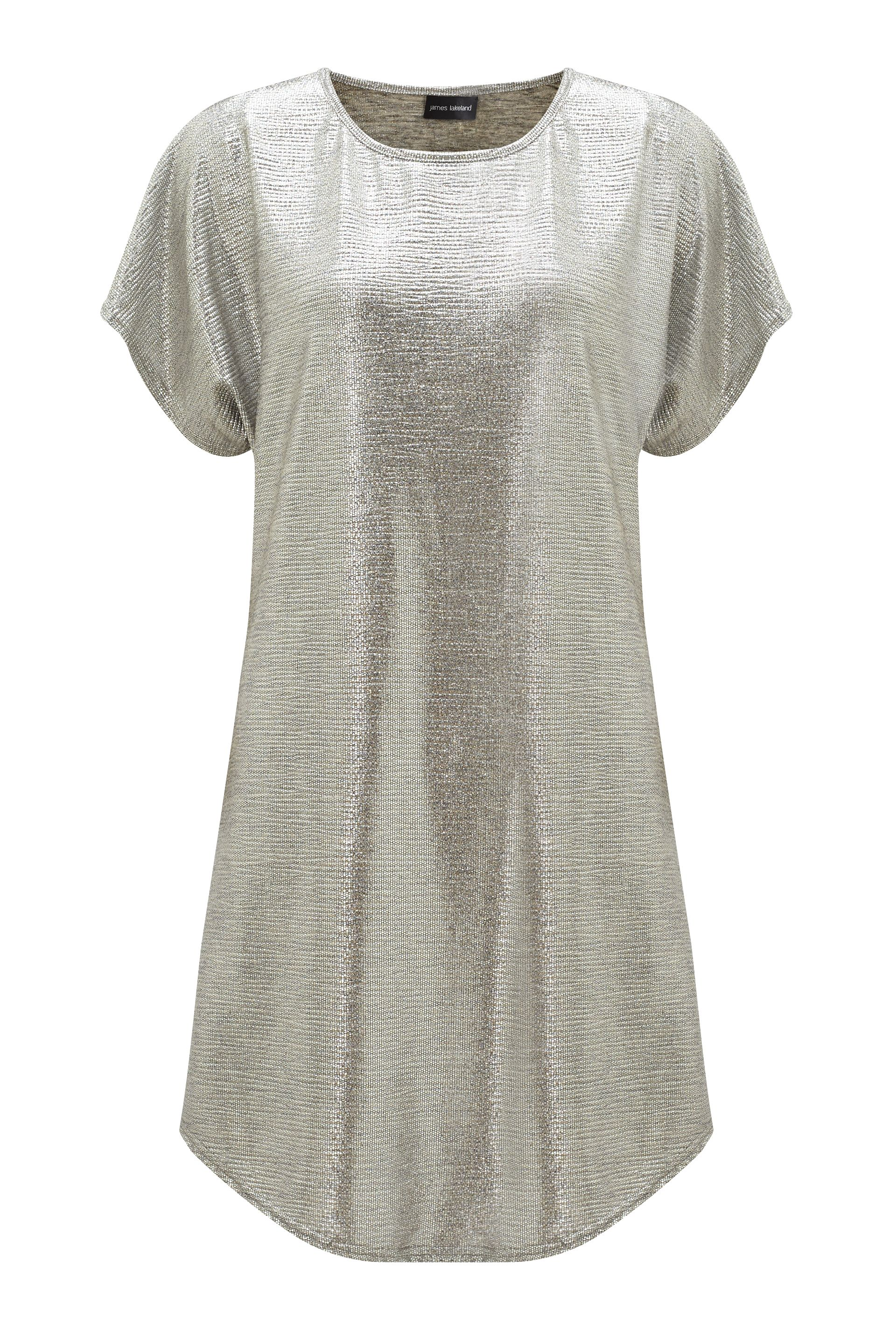 James Lakeland Metallic Tunic Dress, Silver Silverlic