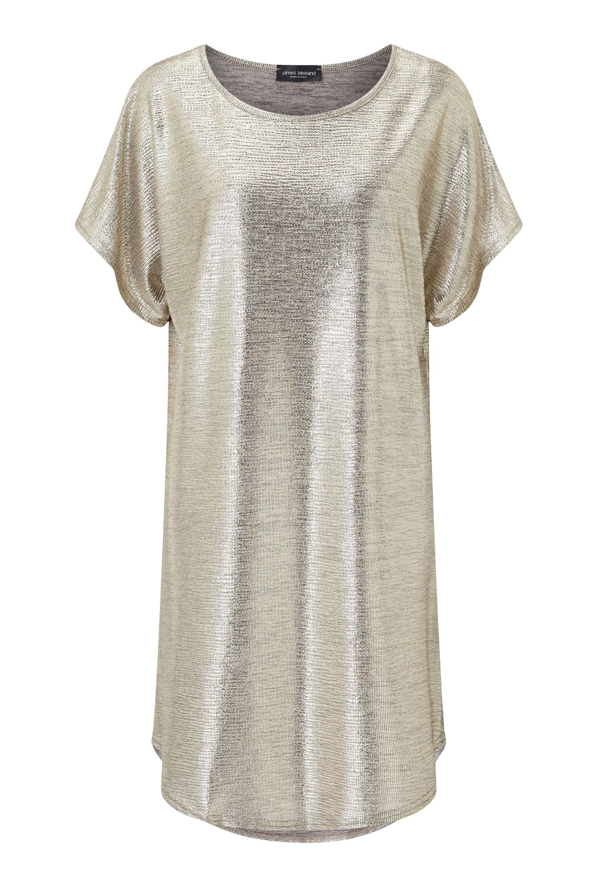 James Lakeland Metallic Tunic Dress, Gold Silverlic
