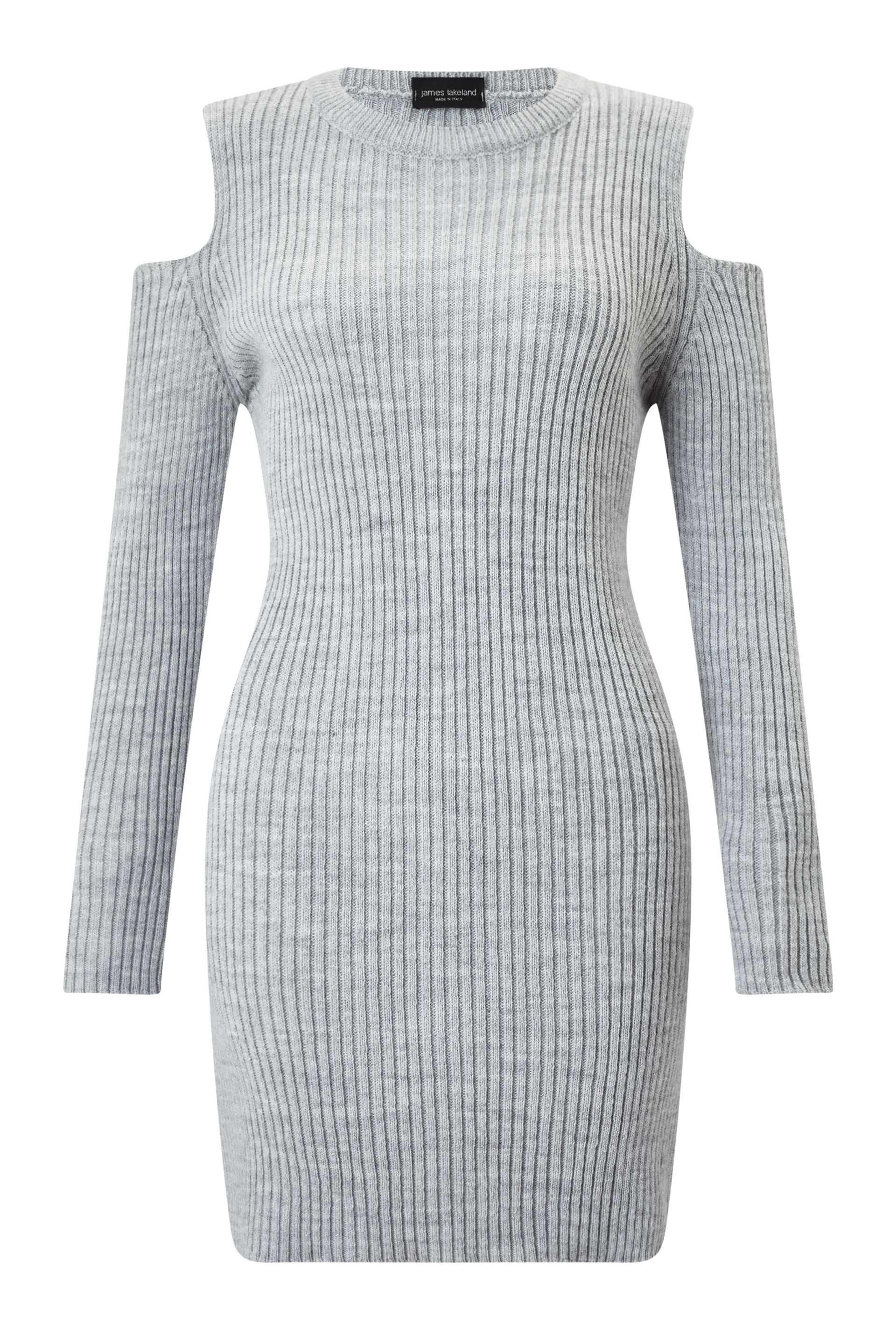 James Lakeland Cold Shoulder Knit Dress, Grey
