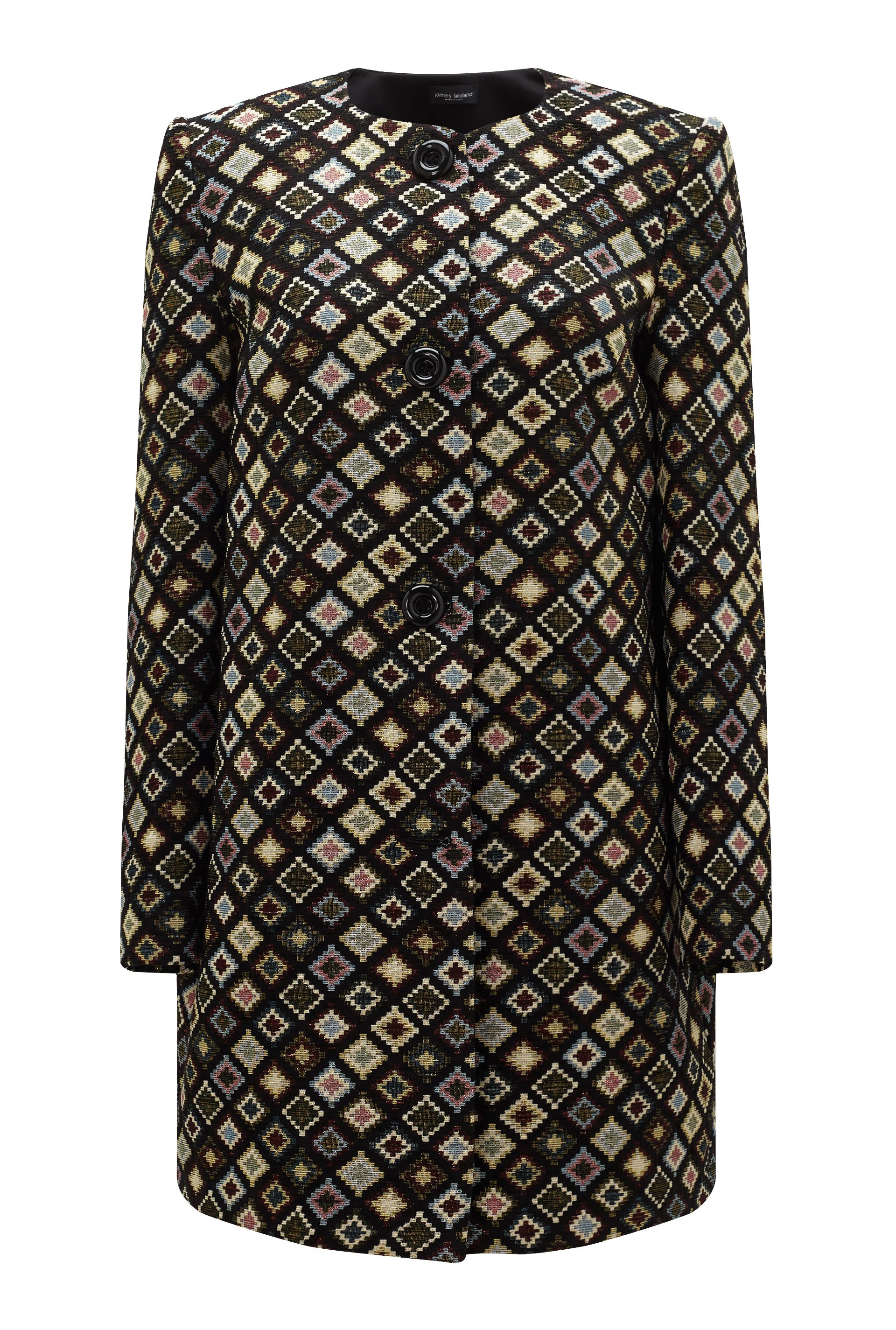 James Lakeland Jacquard Pattern Coat, Black