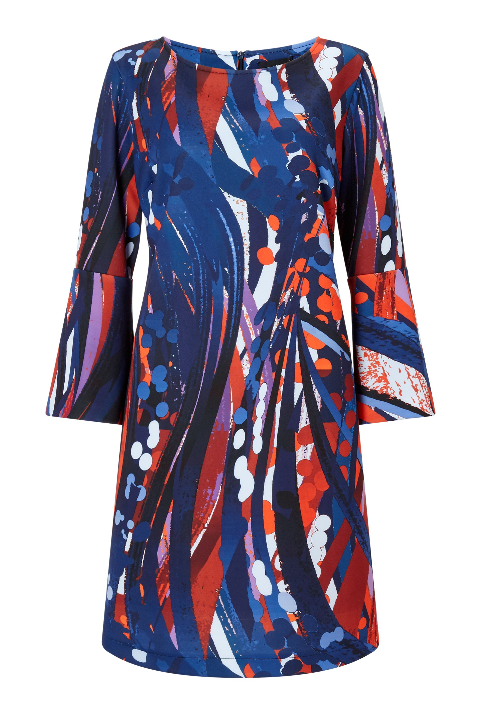 James Lakeland Printed Flute Sleeve Dress, Blue