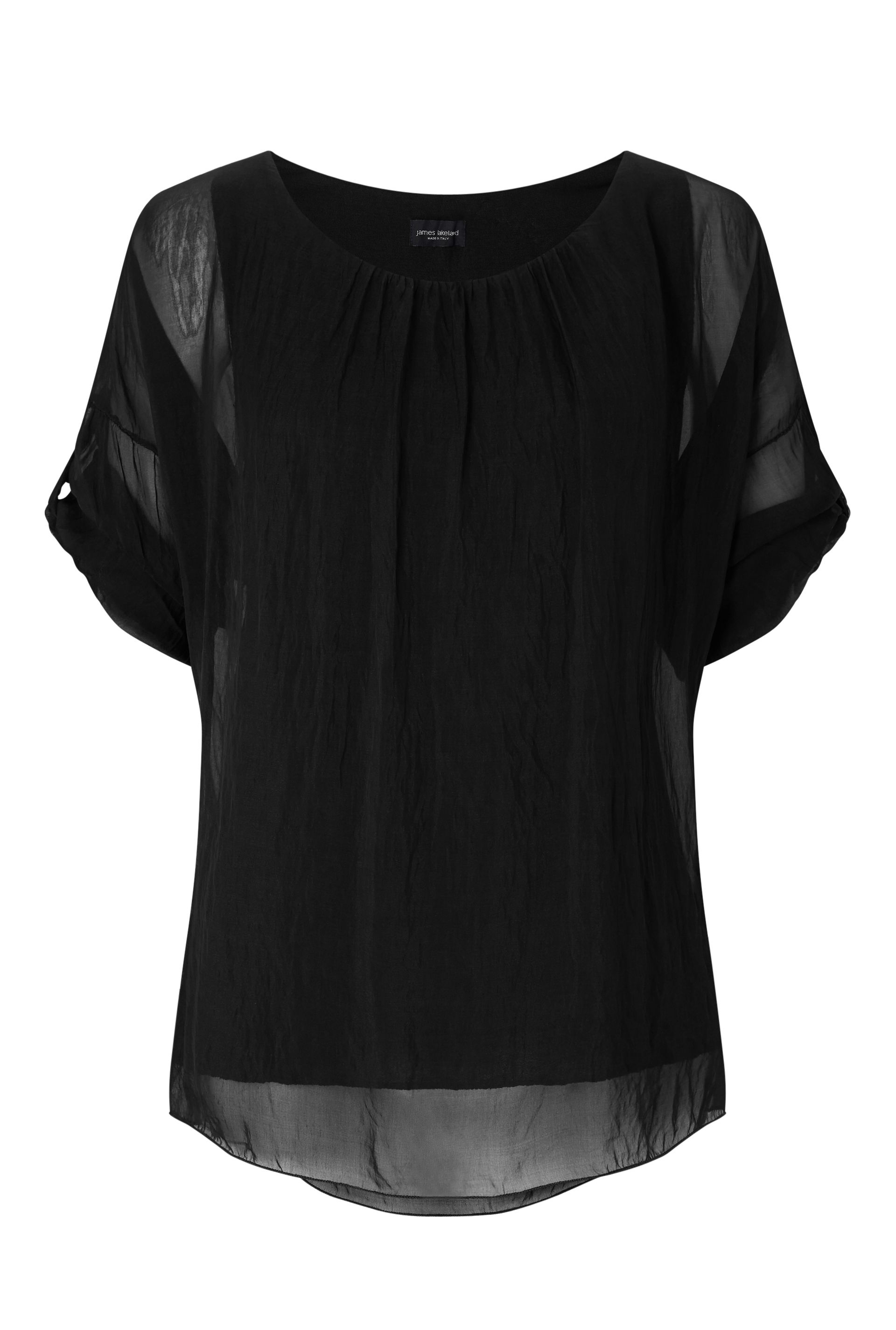 James Lakeland Silk 3/4 Sleeve Top, Black