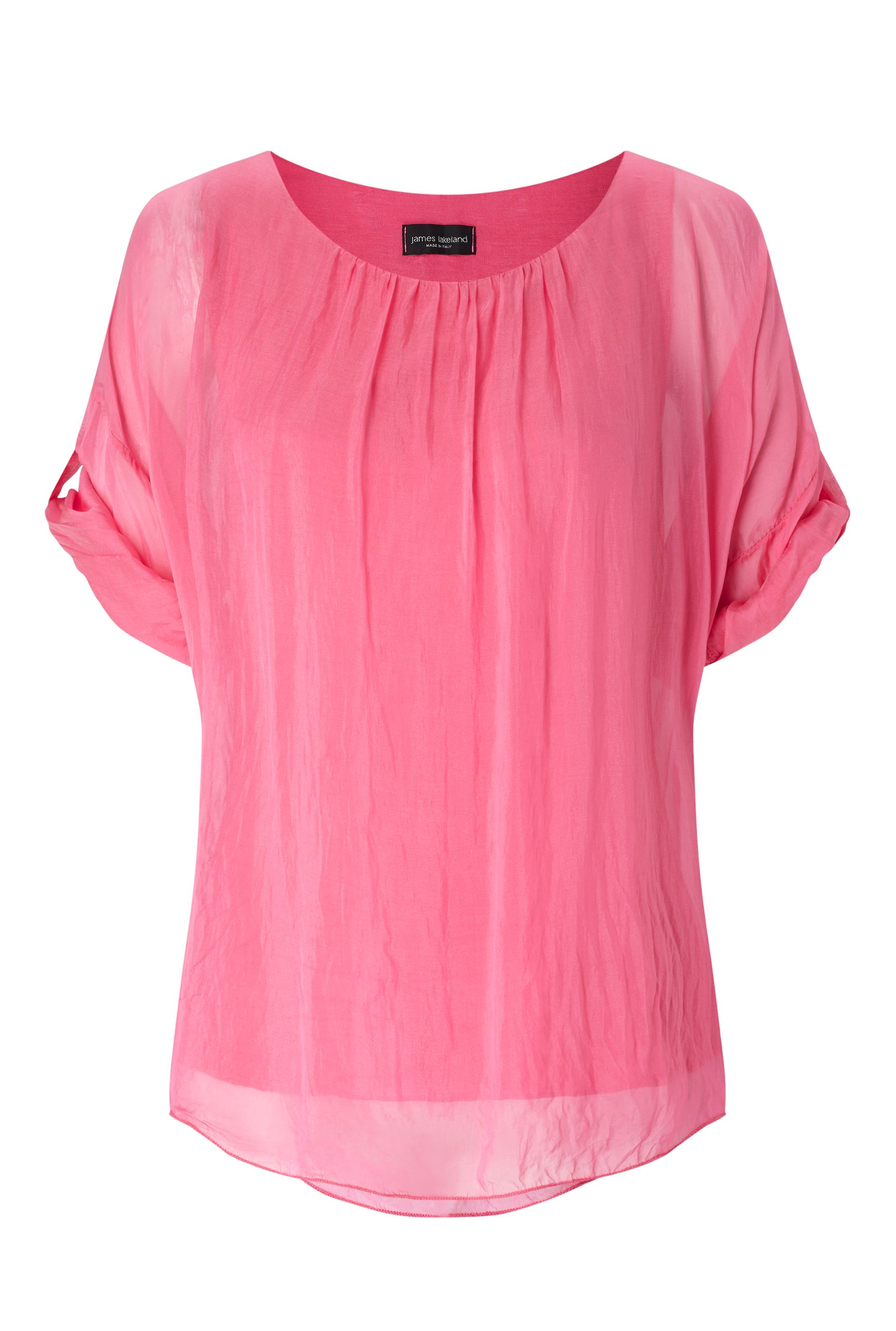 James Lakeland Silk 3/4 Sleeve Top, Pink