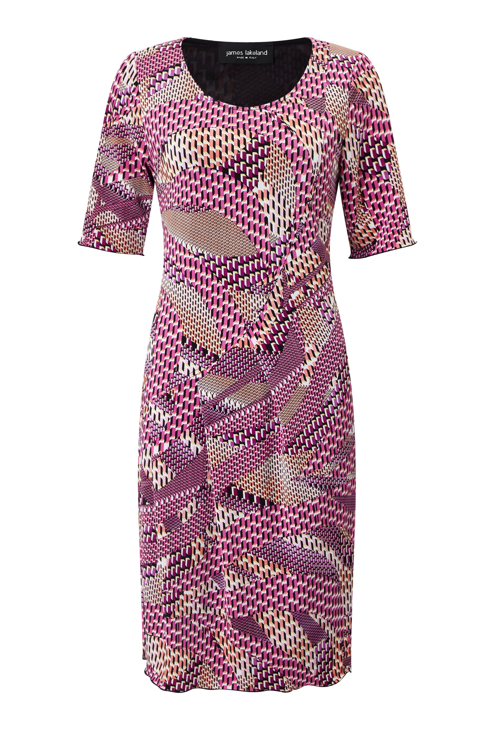 James Lakeland Printed Cut Pleat Dress, Pink
