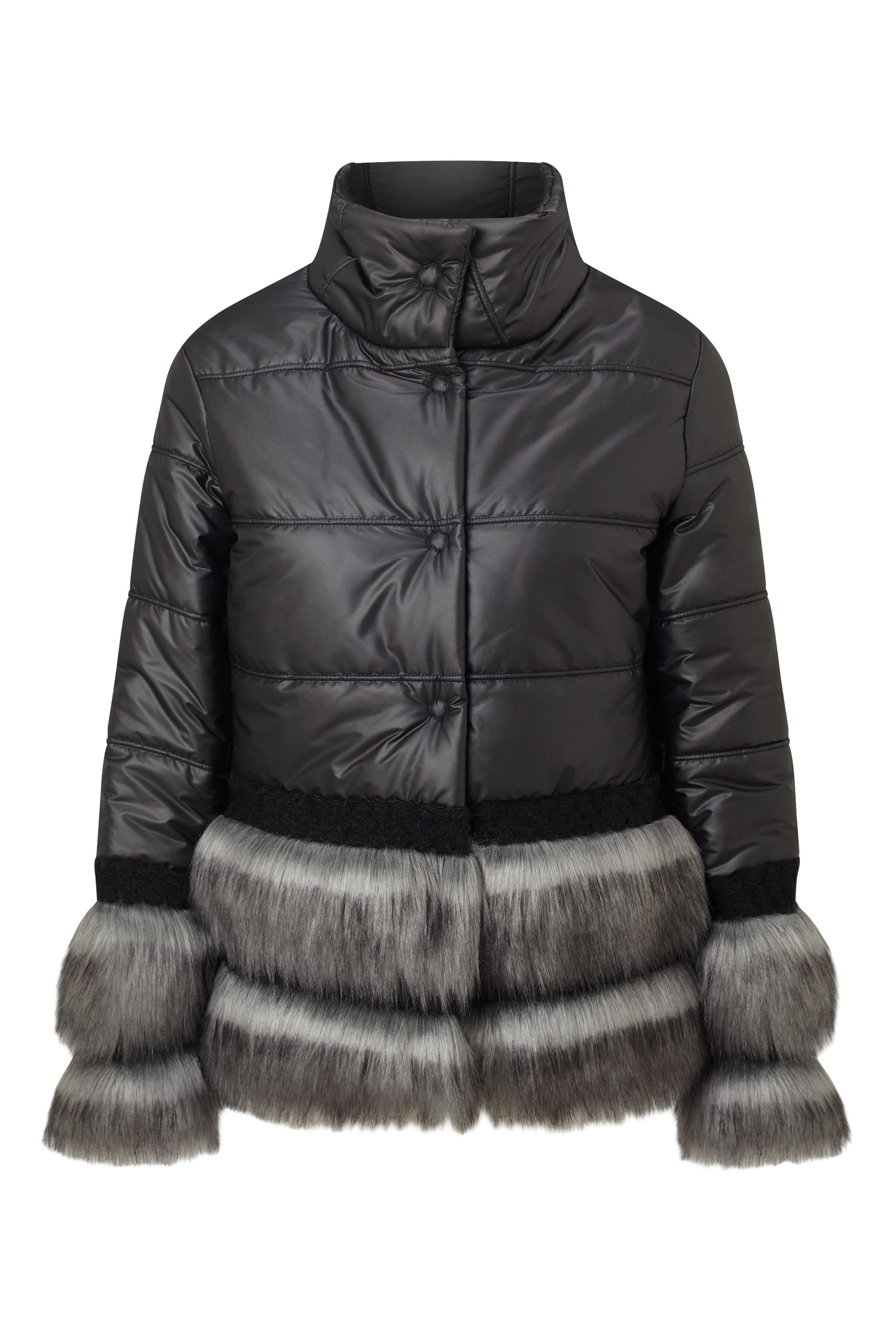 James Lakeland Faux Fur Puffer Coat, Black
