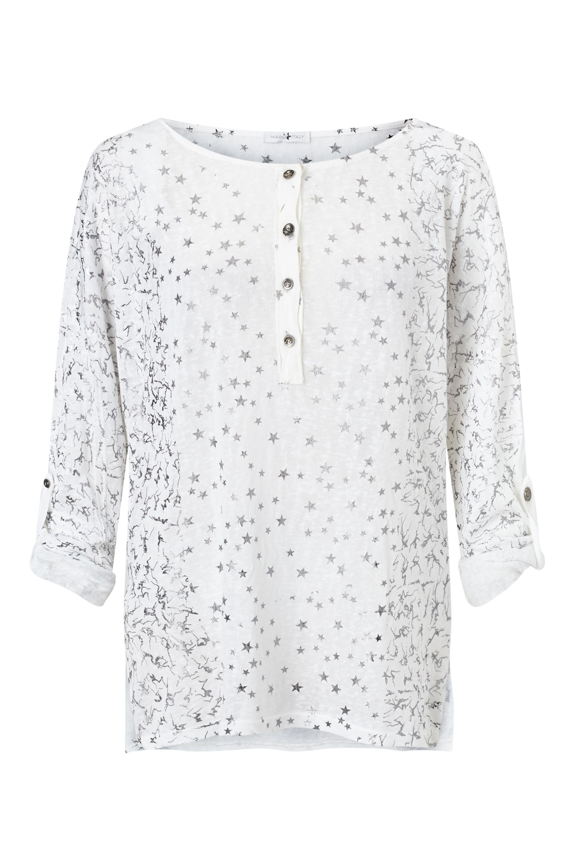 James Lakeland Metallic Print Top, White