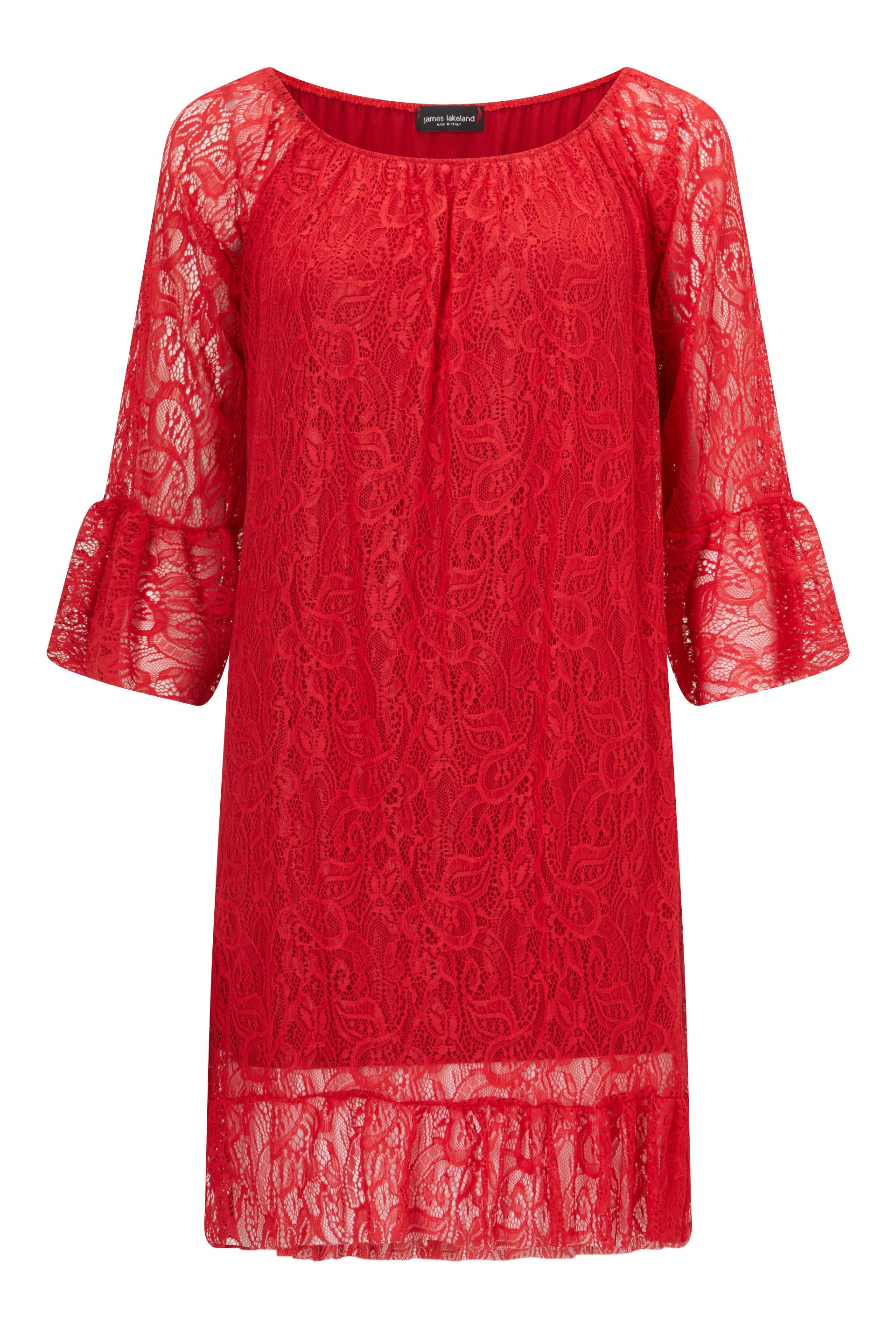 James Lakeland Lace Dress, Red